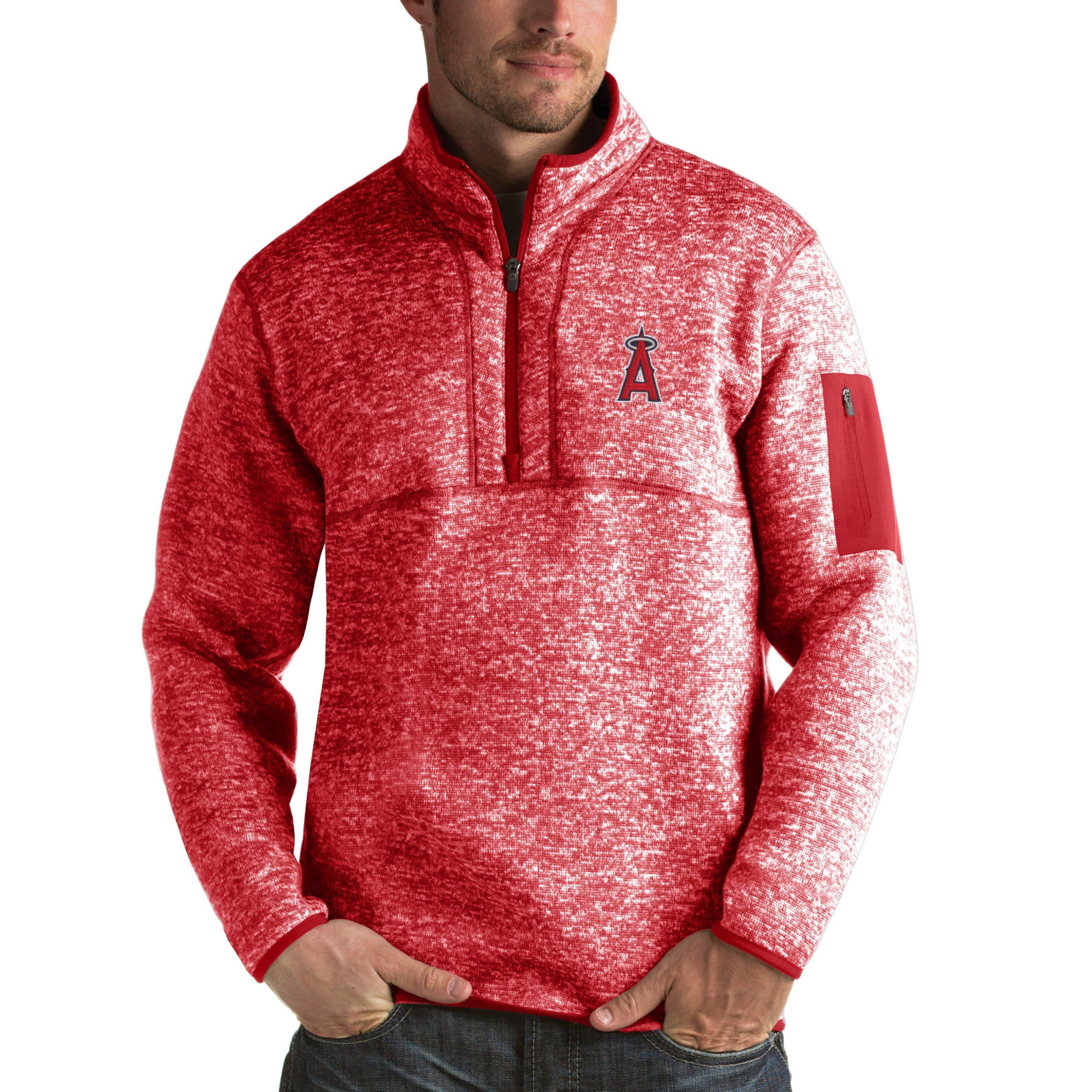 Los Angeles Angels Antigua Fortune Half-Zip Sweater - Heathered Red