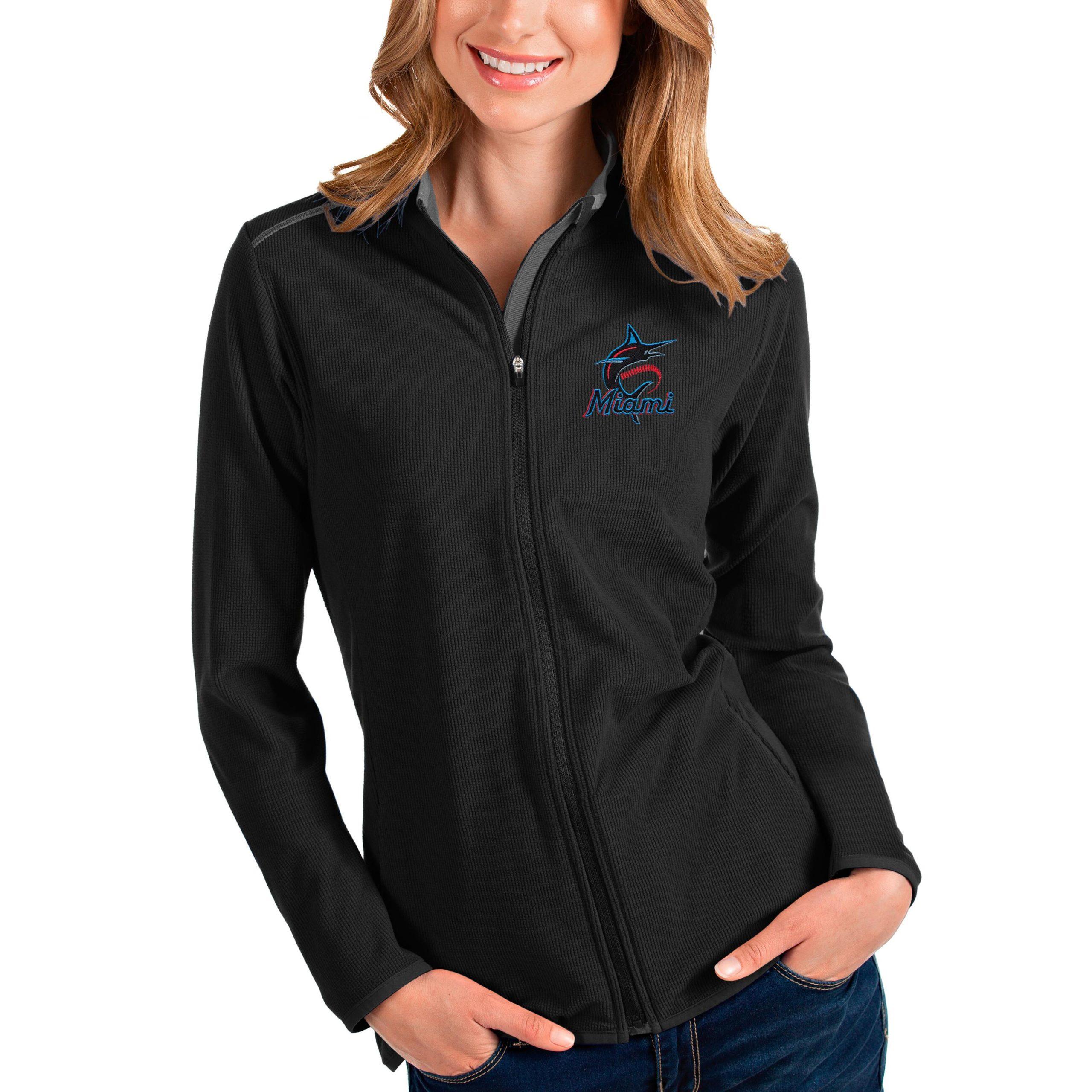 Miami Marlins Antigua Women's Glacier Full-Zip Jacket - Black