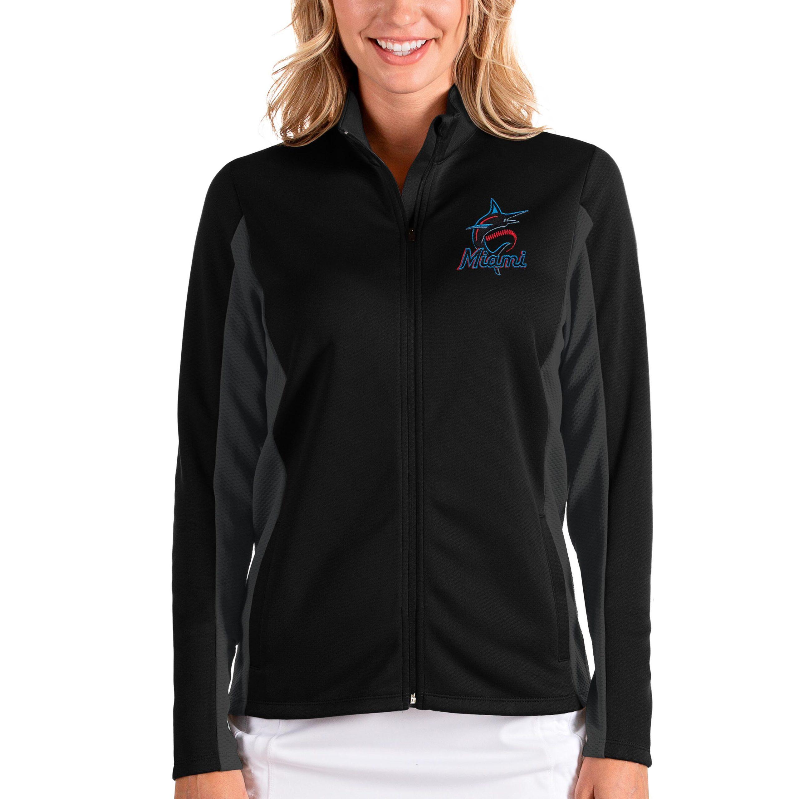 Miami Marlins Antigua Women's Passage Full-Zip Jacket - Black/Charcoal