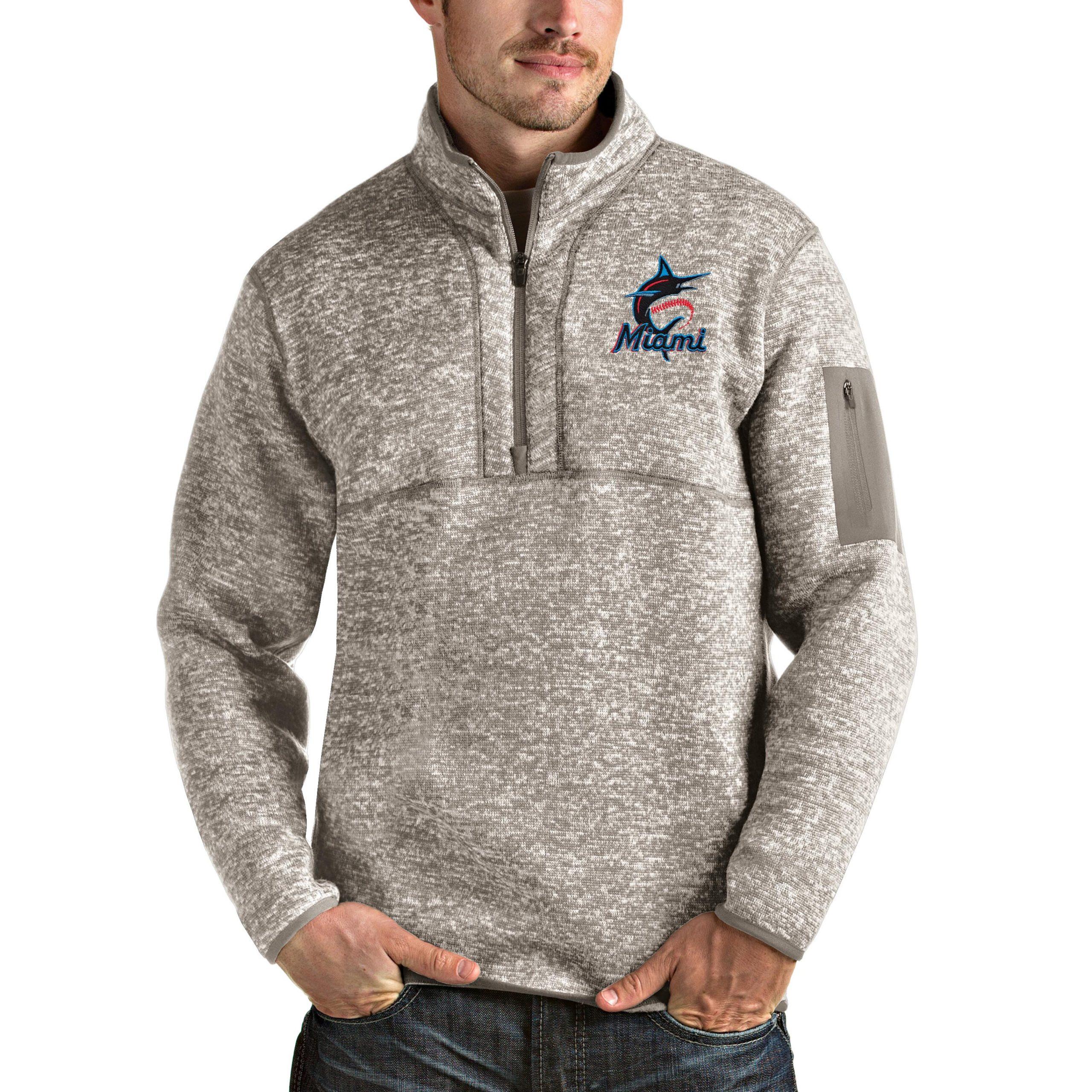Miami Marlins Antigua Fortune Quarter-Zip Pullover Jacket - Oatmeal