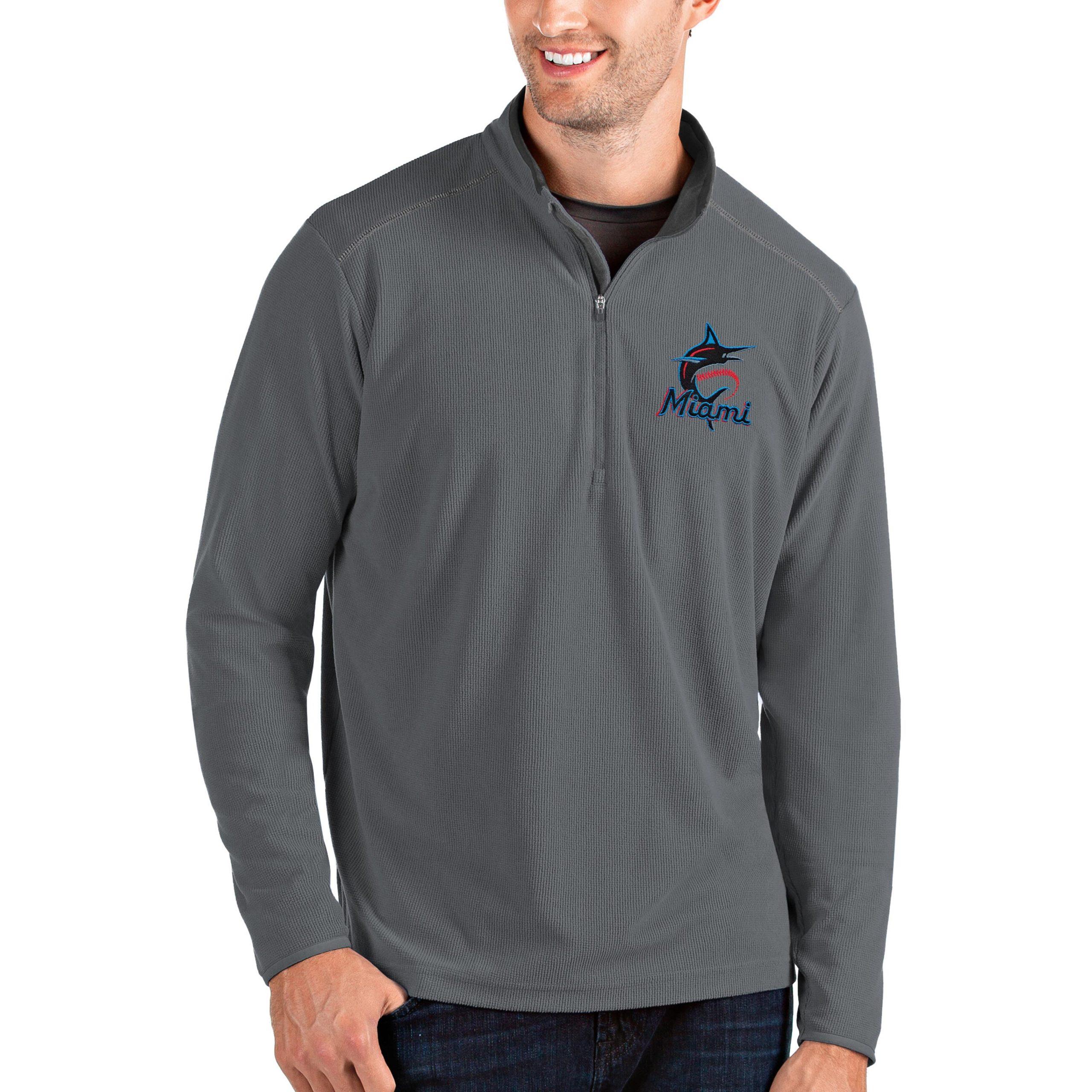 Miami Marlins Antigua Glacier Quarter-Zip Pullover Jacket - Gray
