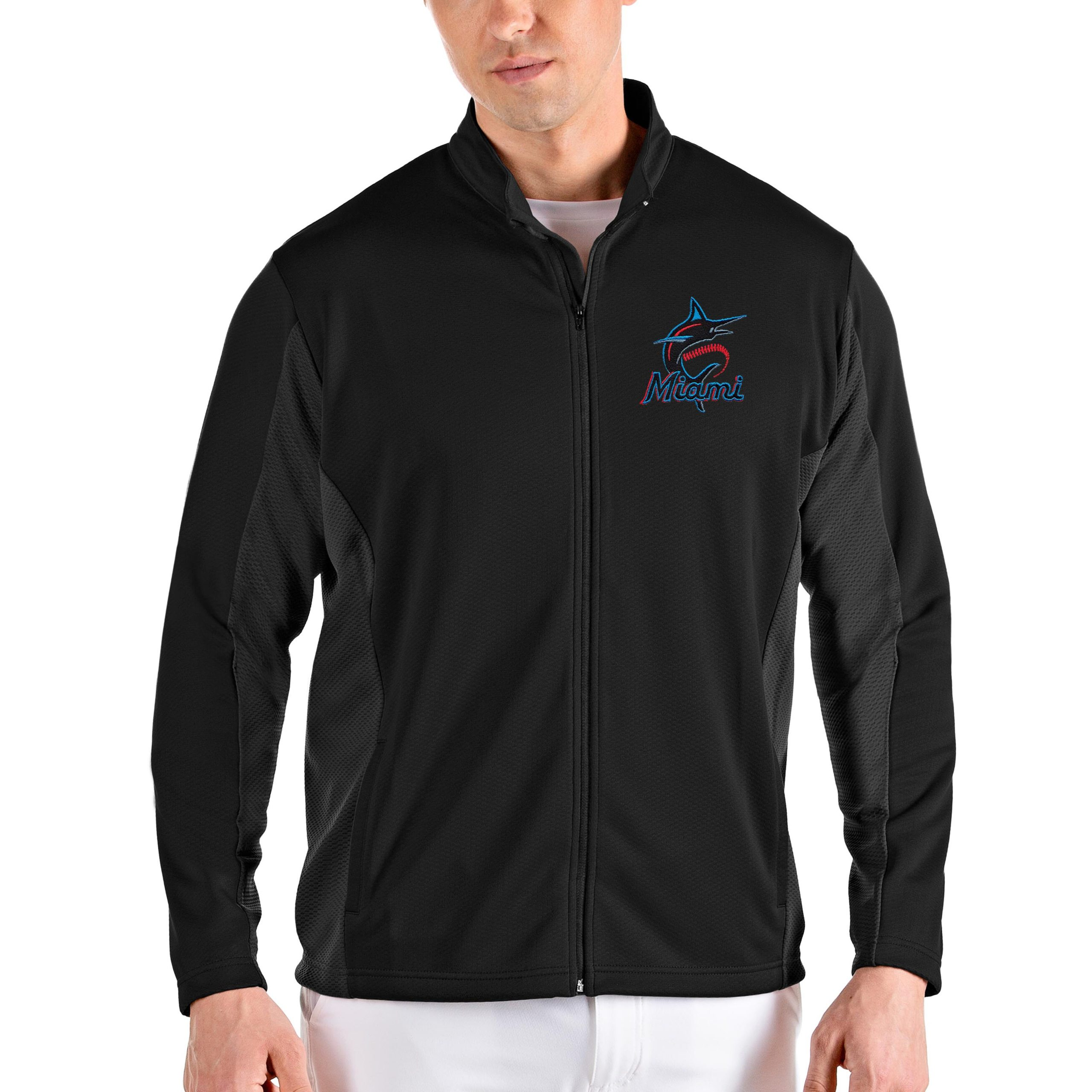Miami Marlins Antigua Passage Full-Zip Jacket - Black