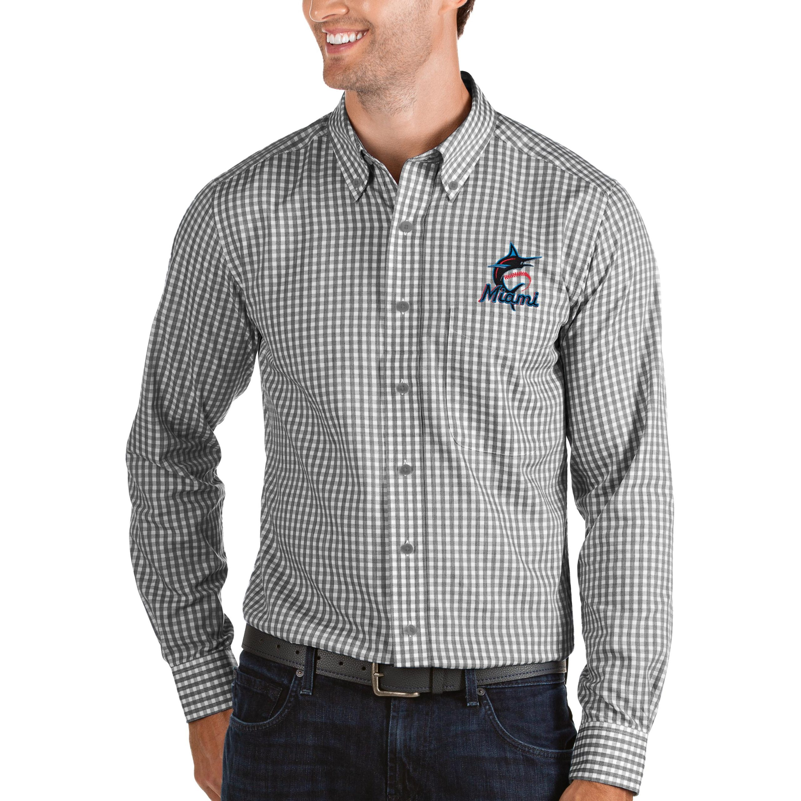 Miami Marlins Antigua Structure Button-Down Long Sleeve Shirt - Black/White