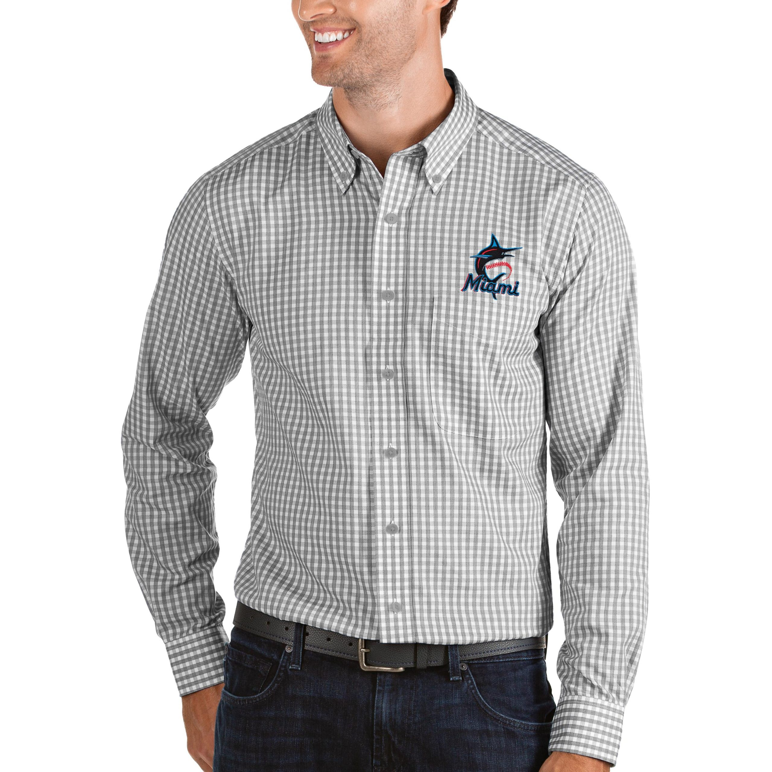 Miami Marlins Antigua Structure Button-Down Long Sleeve Shirt - Steel/White