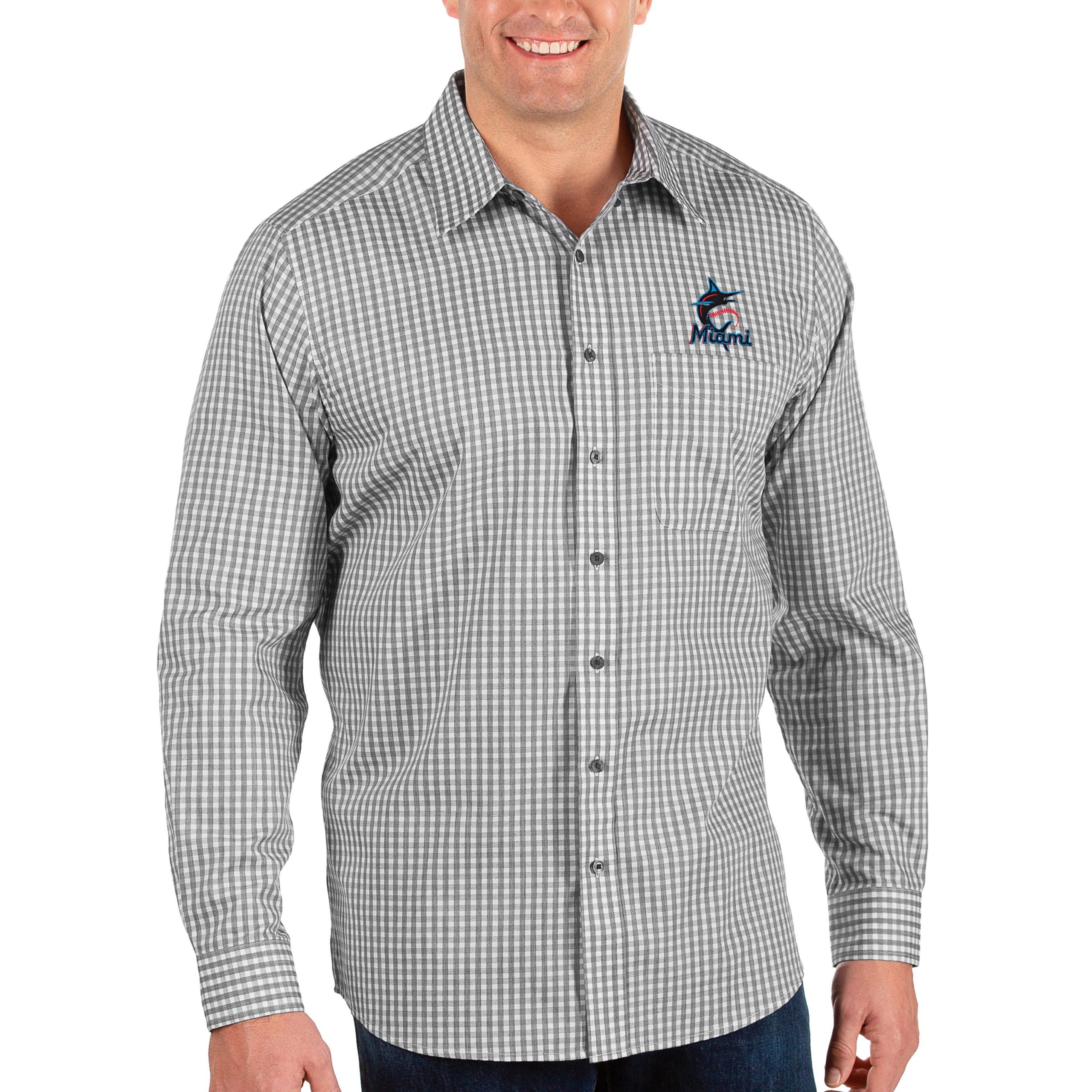 Miami Marlins Antigua Big & Tall Structure Button-Up Long Sleeve Shirt - Black/White