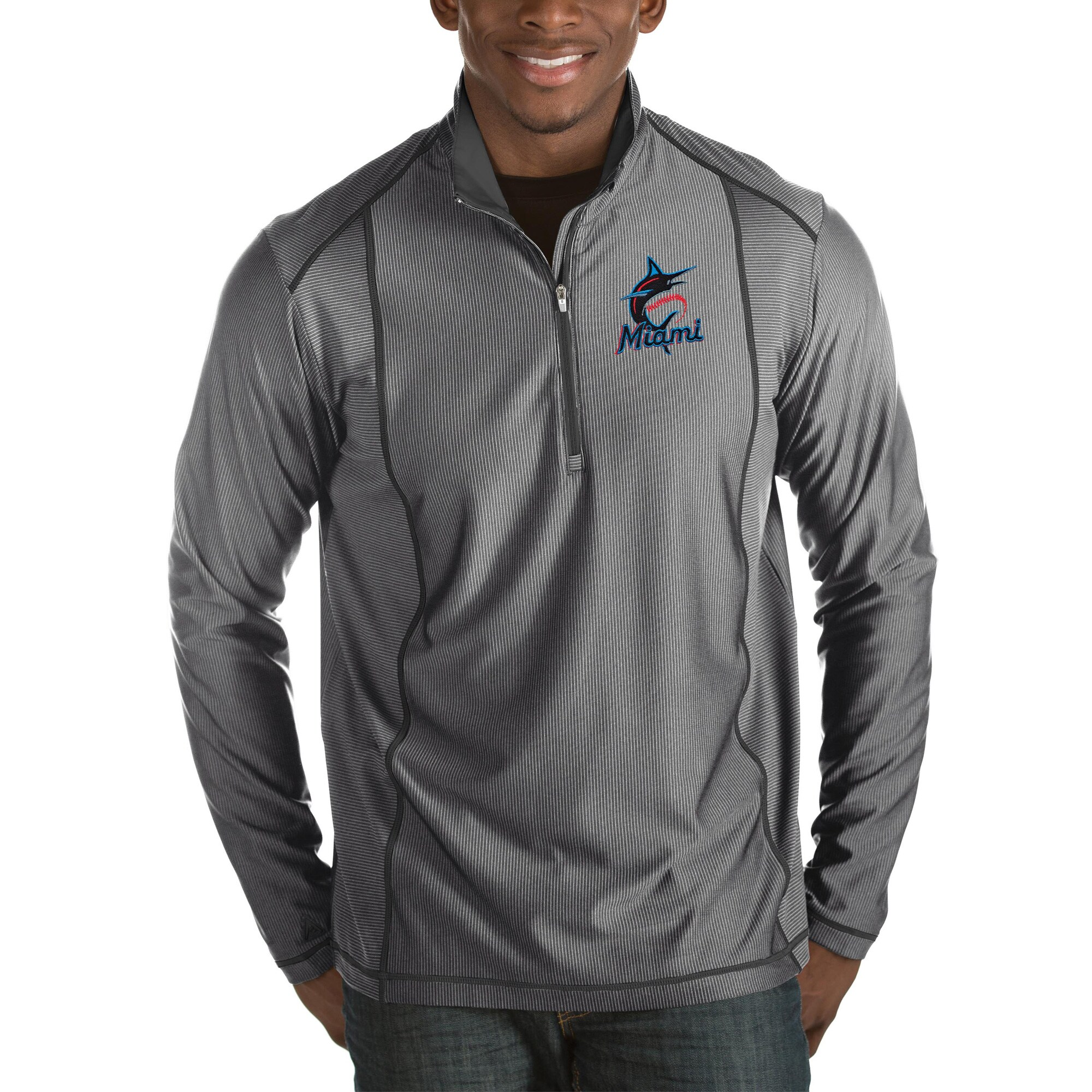 Miami Marlins Antigua Tempo Half-Zip Pullover Jacket - Heathered Charcoal