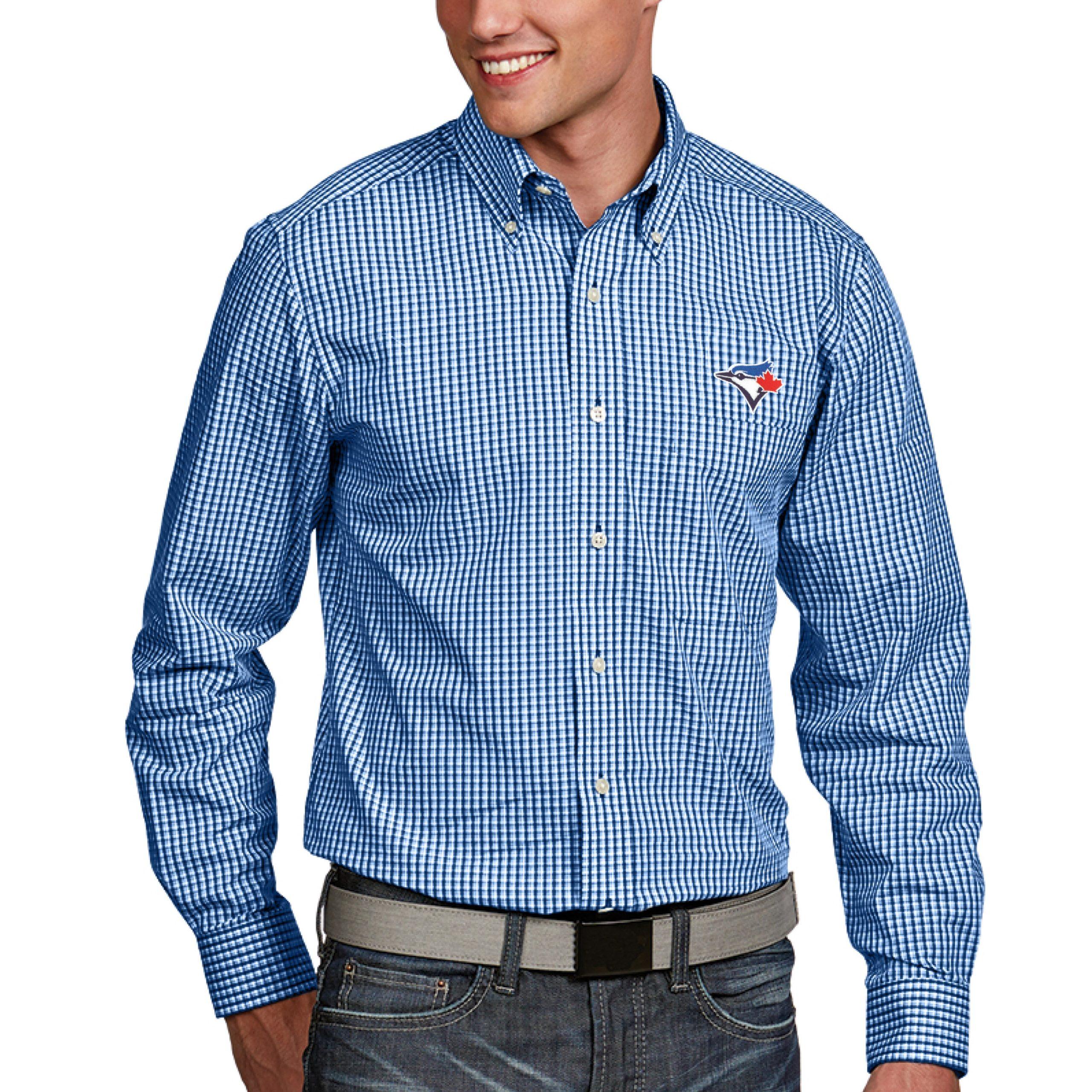 Toronto Blue Jays Antigua Associate Button-Down Dress Long Sleeve Shirt - Royal