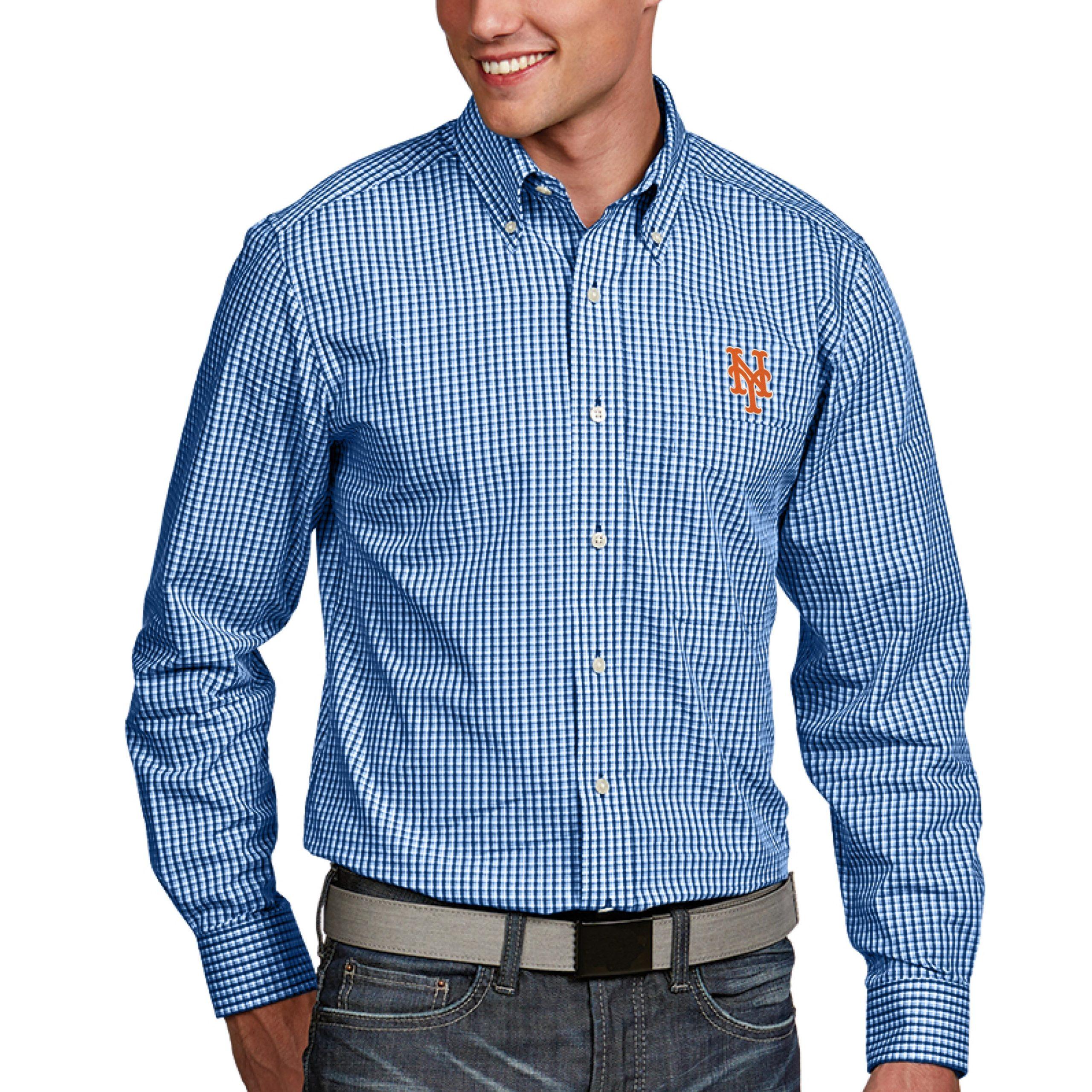 New York Mets Antigua Associate Button-Down Dress Long Sleeve Shirt - Royal