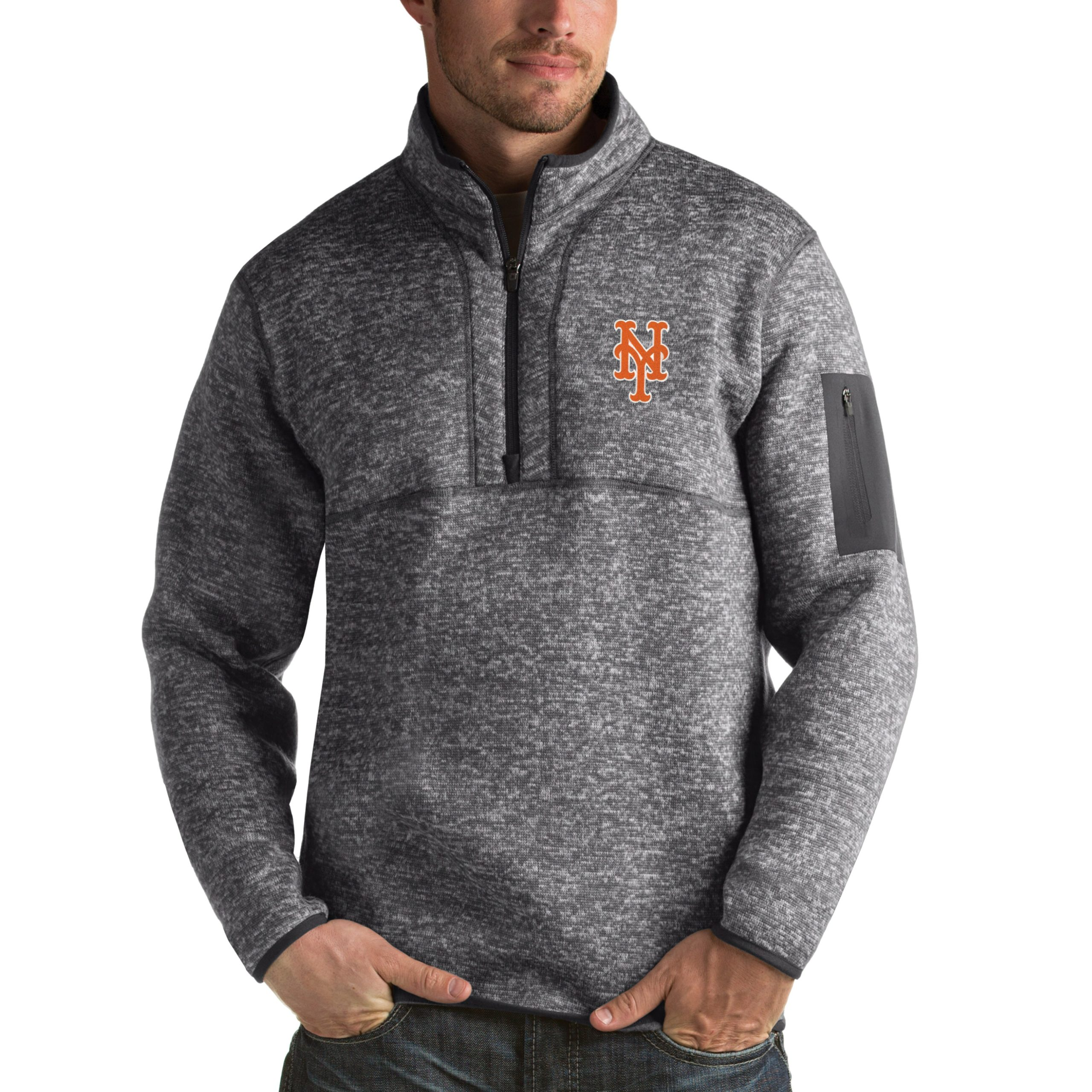 New York Mets Antigua Fortune Half-Zip Sweater - Heathered Charcoal