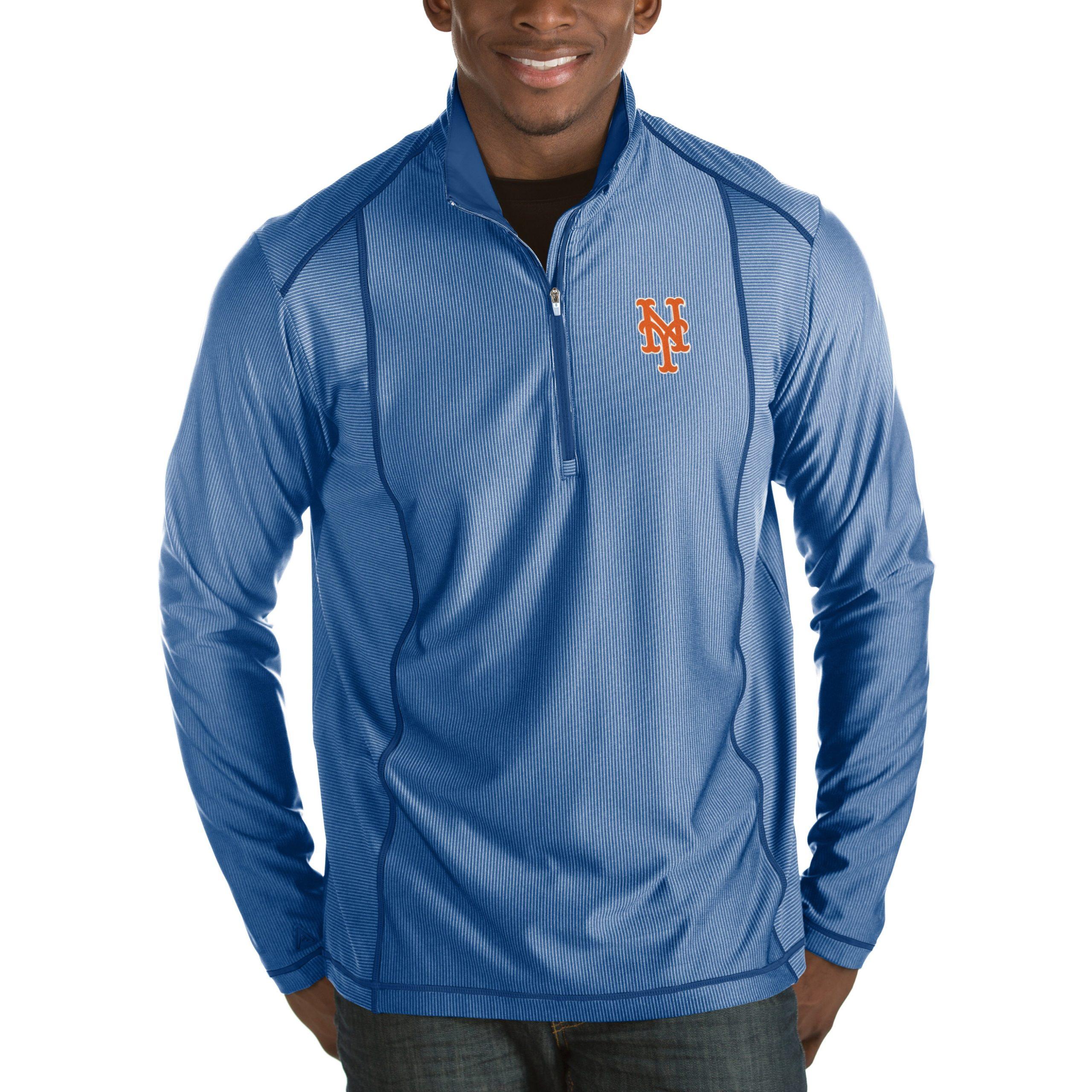 New York Mets Antigua Tempo Half-Zip Pullover Jacket - Heathered Royal