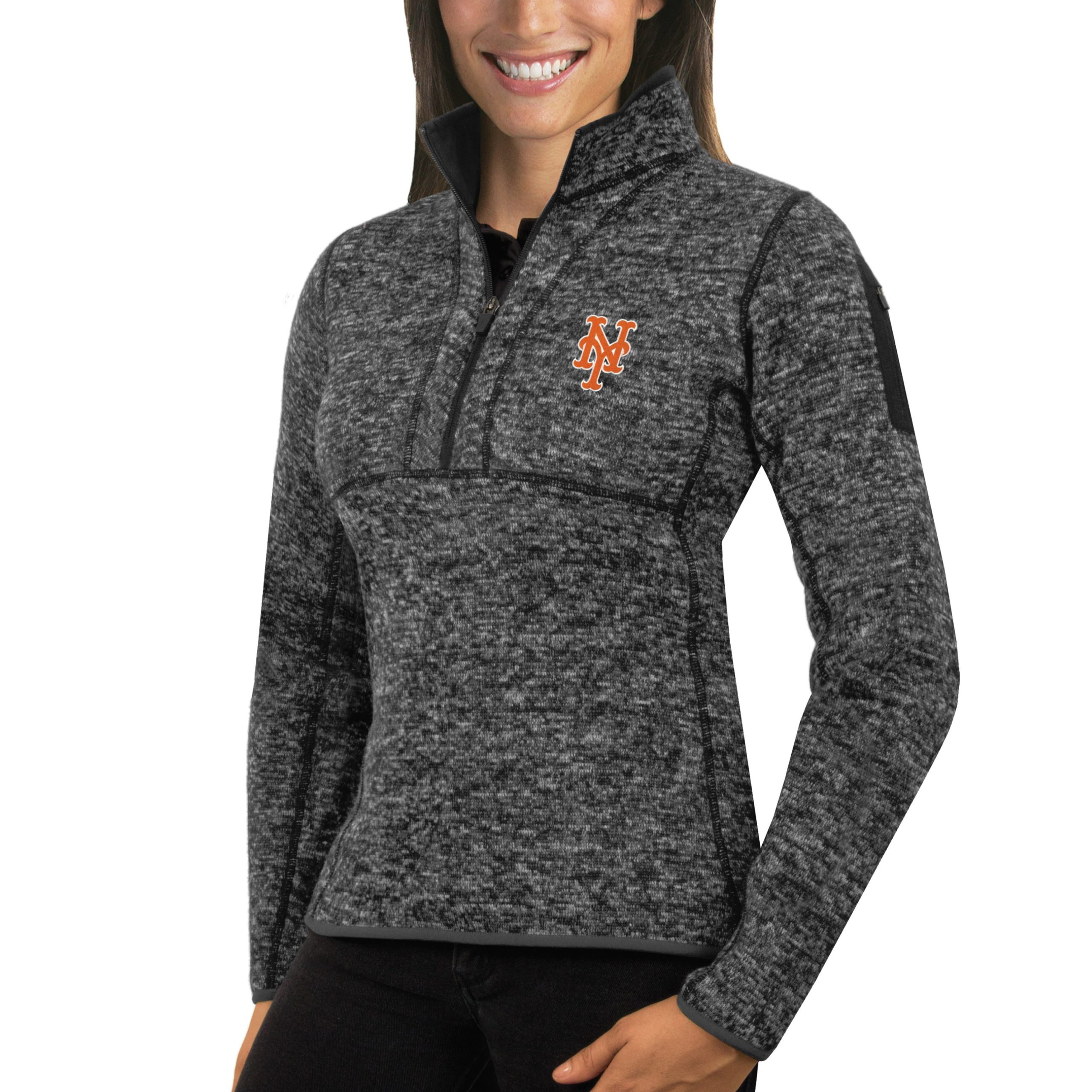 New York Mets Antigua Women's Fortune Half-Zip Pullover Sweater - Heathered Charcoal