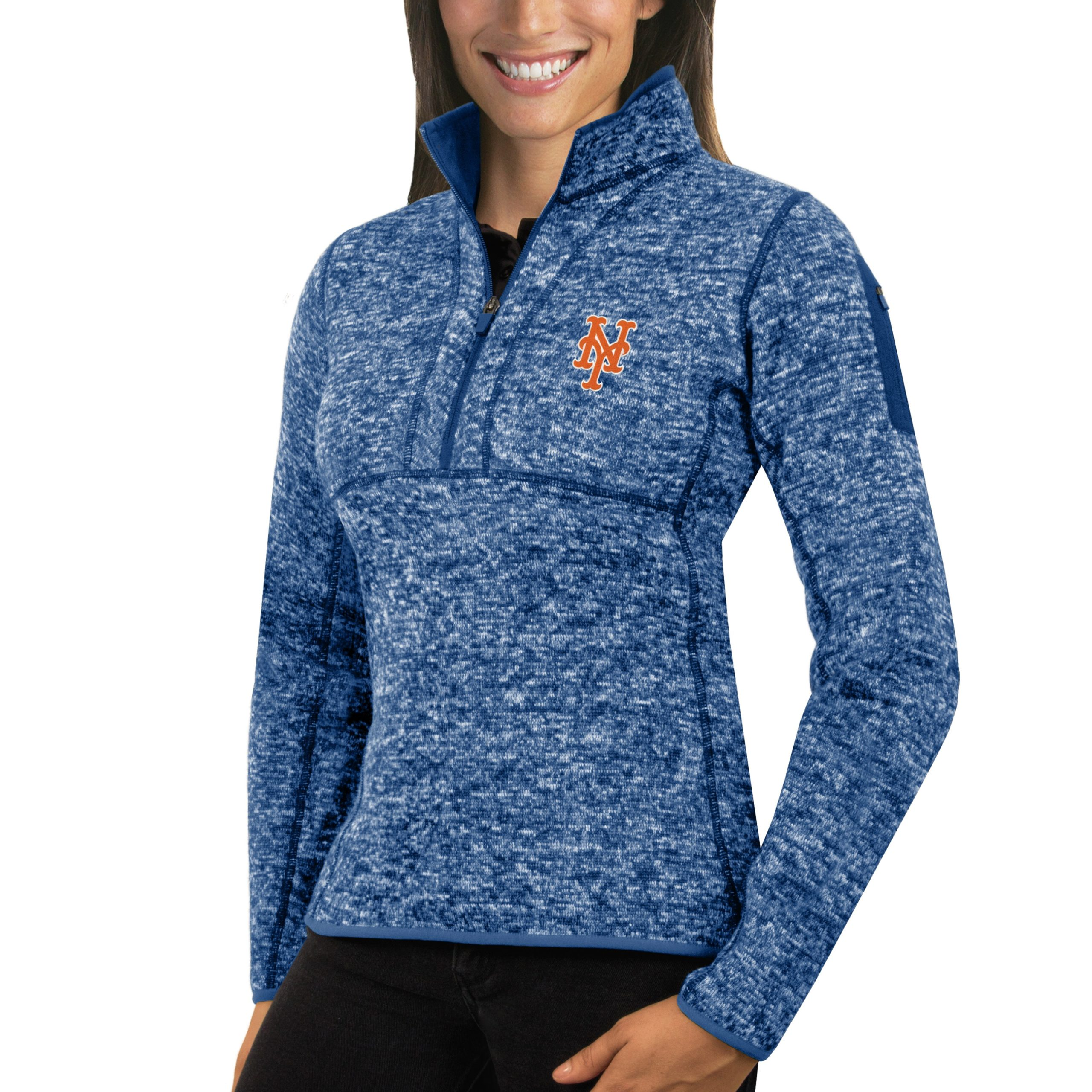 New York Mets Antigua Women's Fortune Half-Zip Pullover Sweater - Heathered Royal