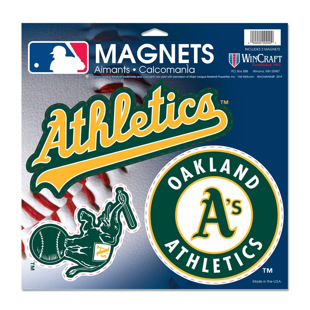 "Oakland Athletics WinCraft 11"" X 11"" 3pk Car Magnets"