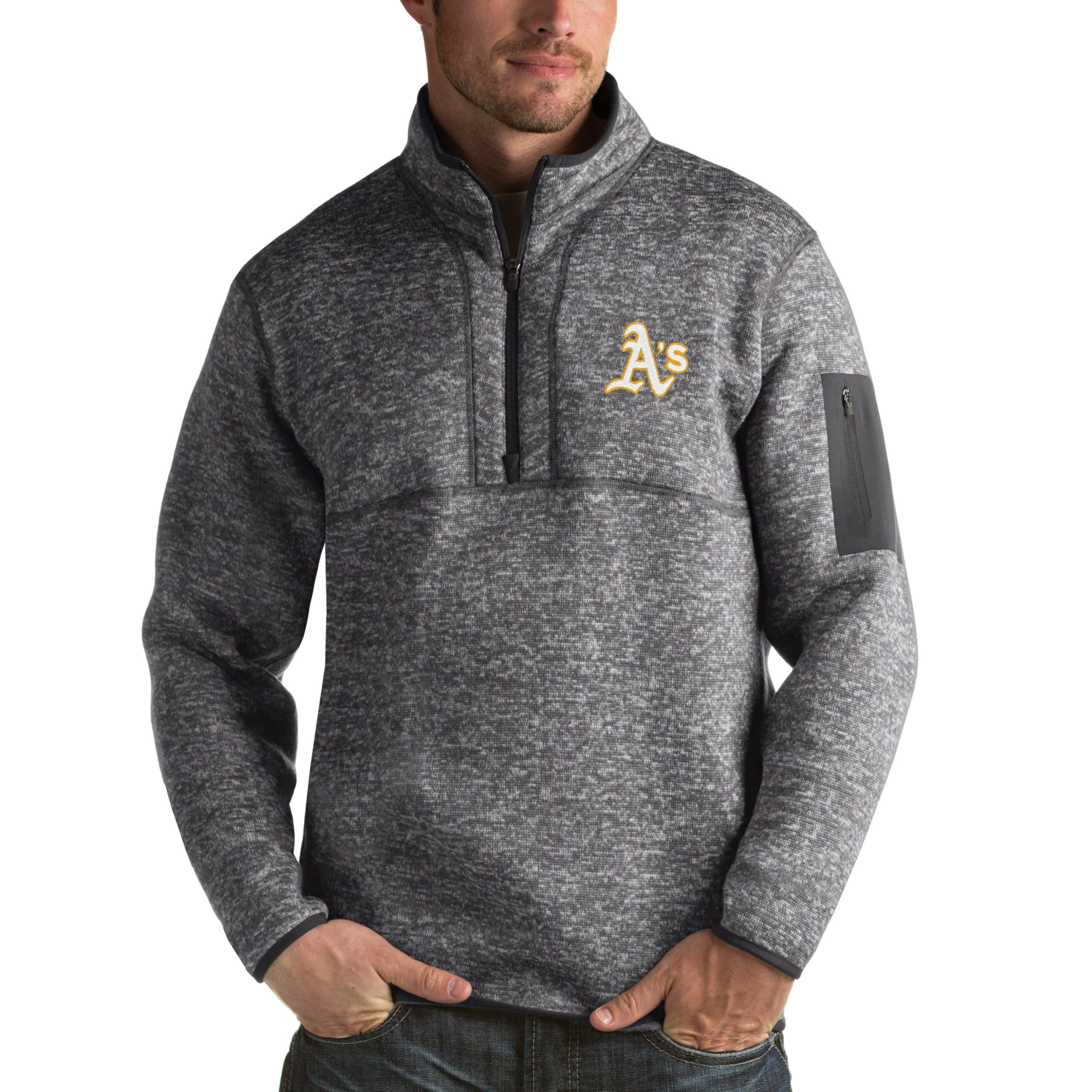 Oakland Athletics Antigua Fortune Half-Zip Sweater - Heathered Charcoal