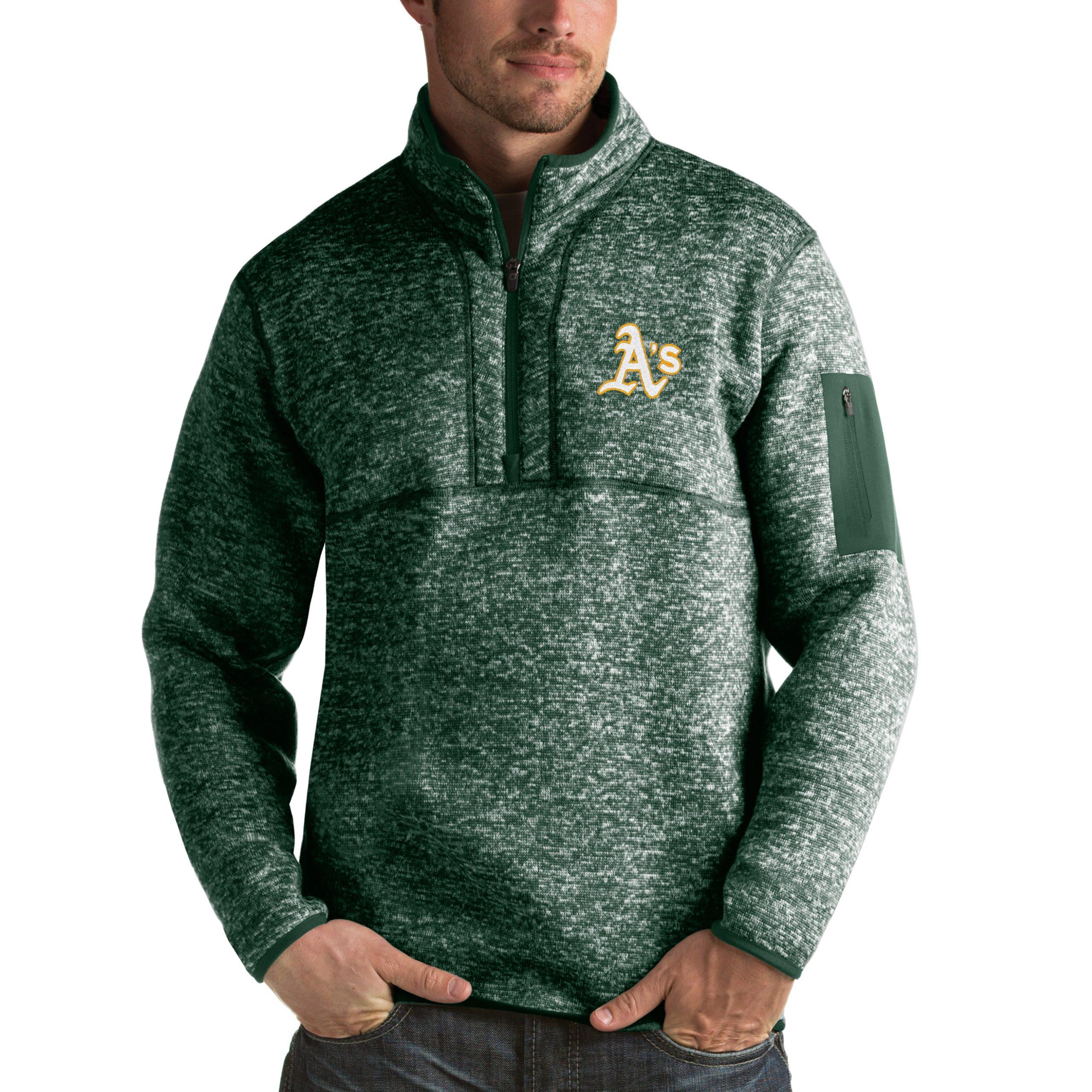 Oakland Athletics Antigua Fortune Half-Zip Sweater - Heathered Green
