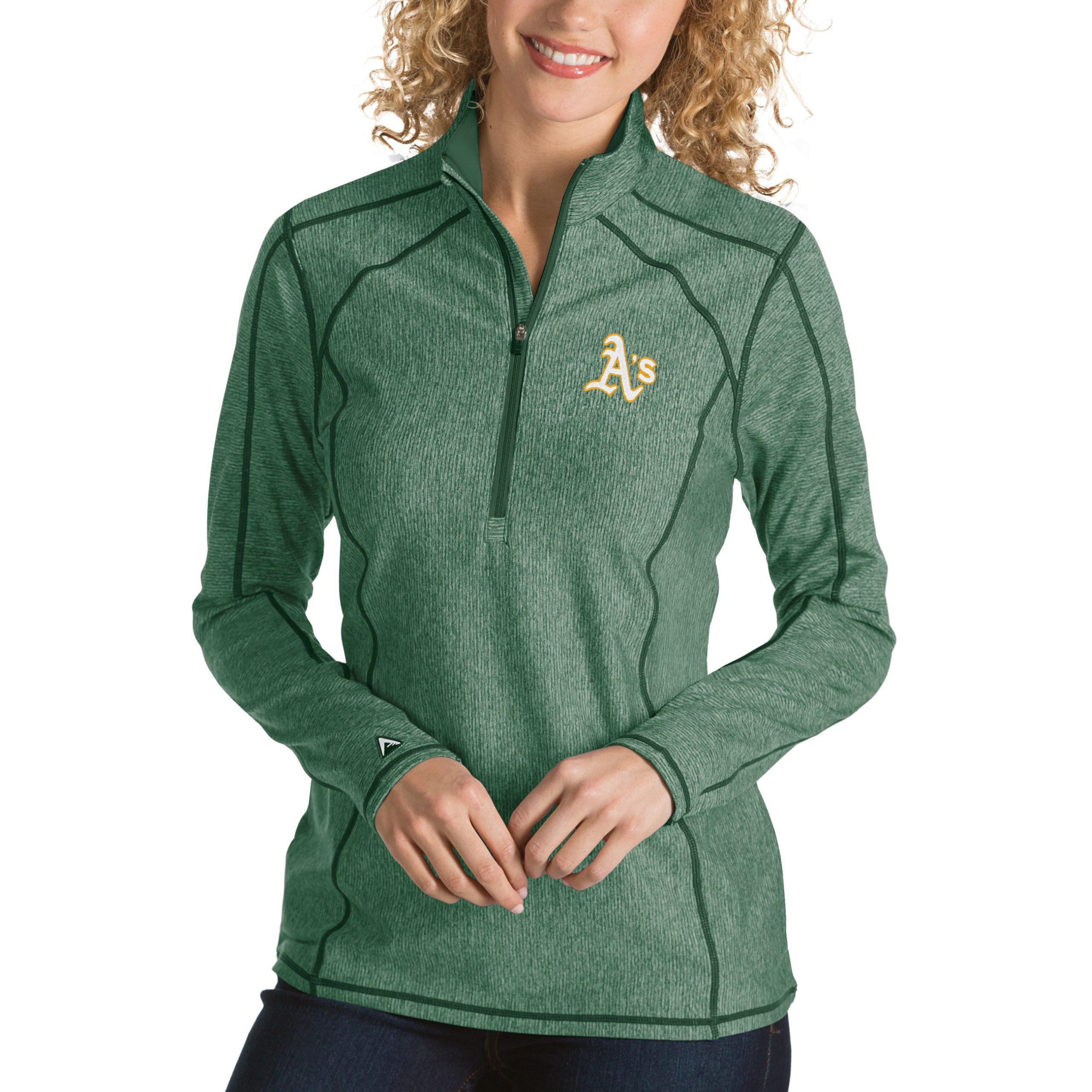 Oakland Athletics Antigua Women's Tempo Desert Dry 1/4-Zip Pullover Jacket - Heathered Green