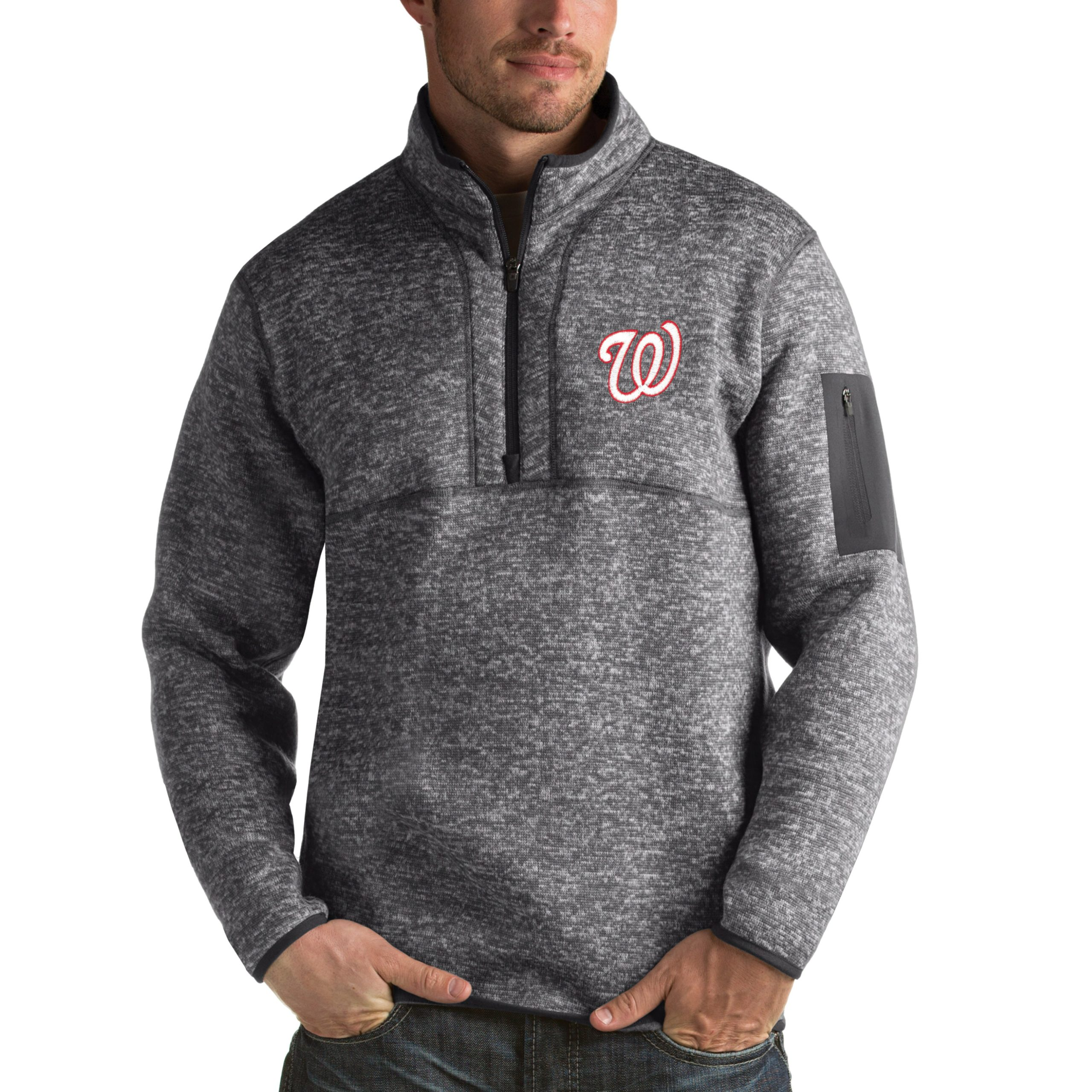 Washington Nationals Antigua Fortune Half-Zip Sweater - Heathered Charcoal