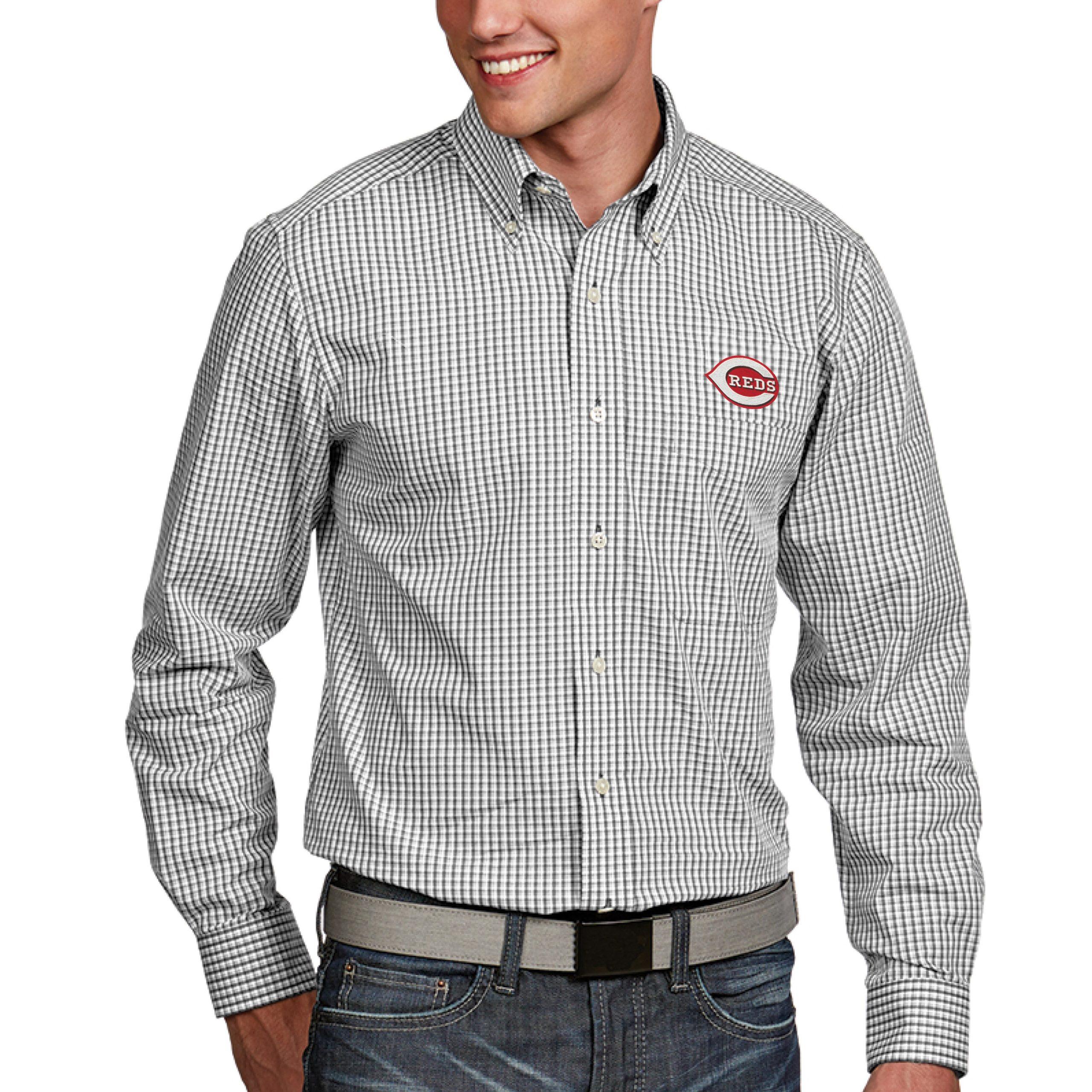 Cincinnati Reds Antigua Associate Button-Down Dress Long Sleeve Shirt - White