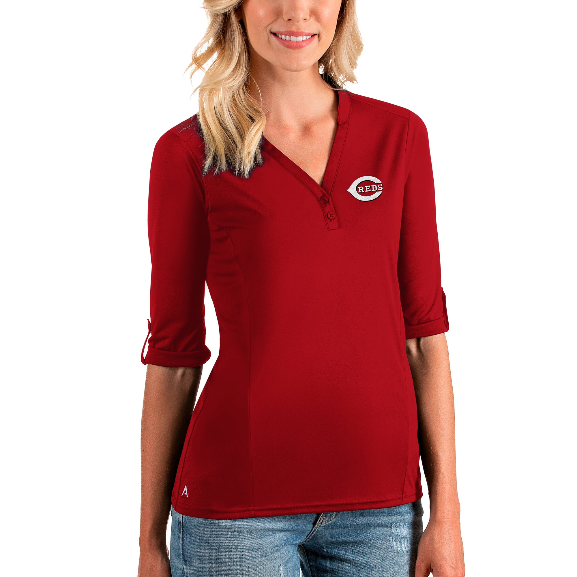 Cincinnati Reds Antigua Women's Accolade 3/4 Sleeve V-Neck Top - Red