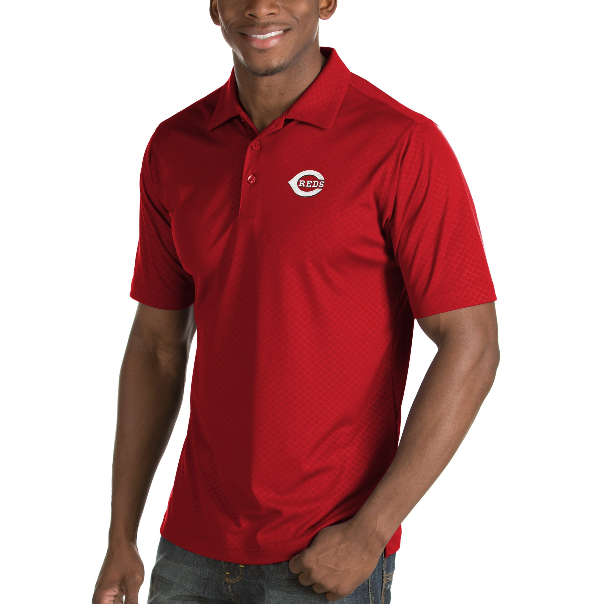 Cincinnati Reds Antigua Inspire Desert Dry Polo - Red