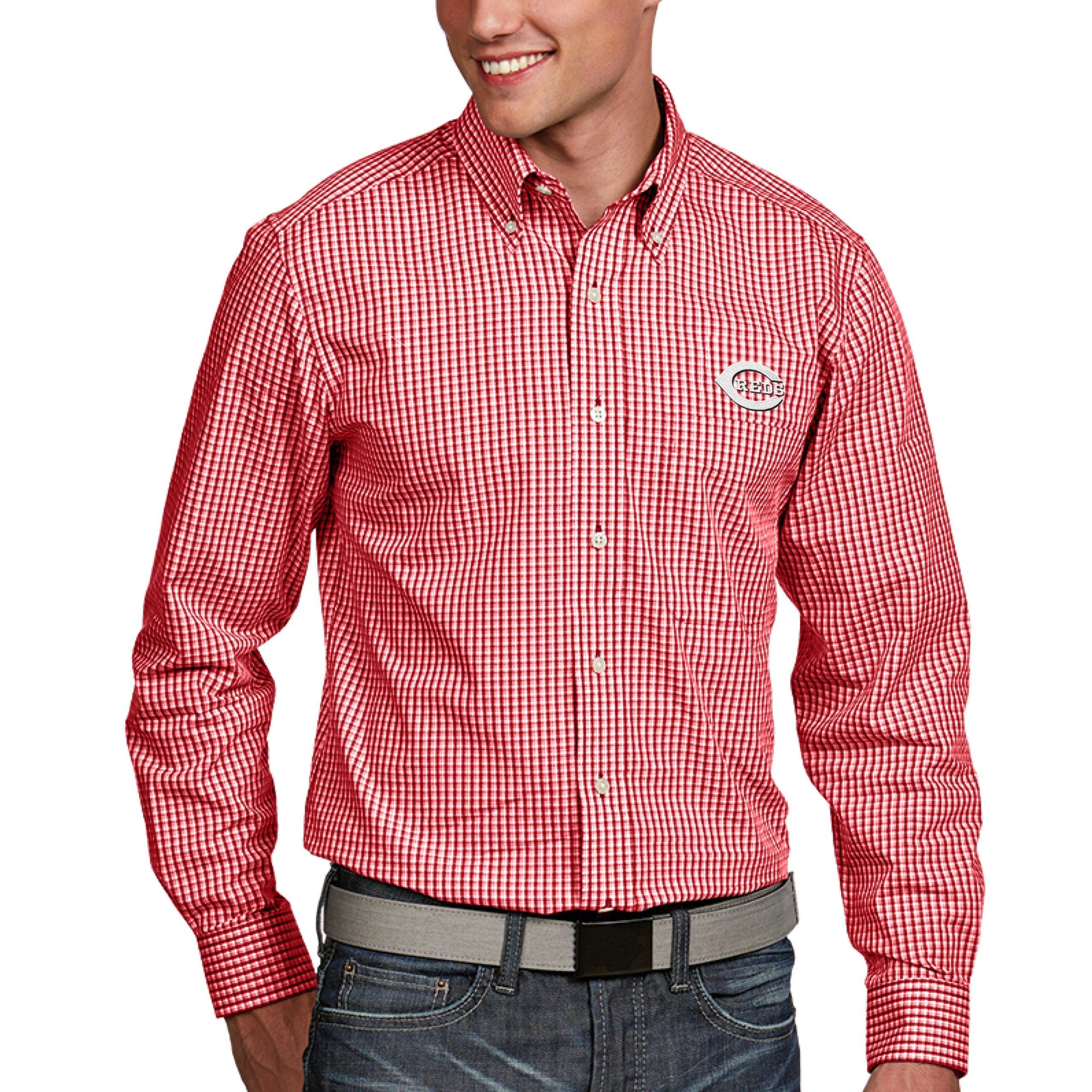 Cincinnati Reds Antigua Associate Button-Down Dress Long Sleeve Shirt - Red