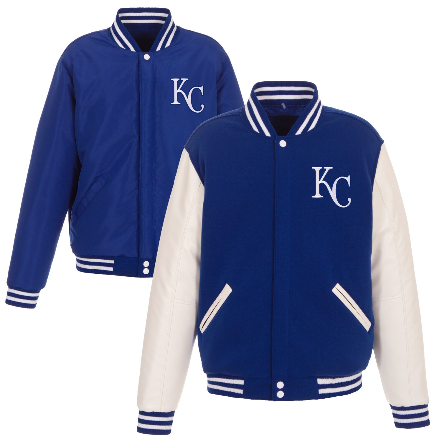 Kansas City Royals JH Design Reversible Fleece Jacket with Faux Leather Sleeves - Royal