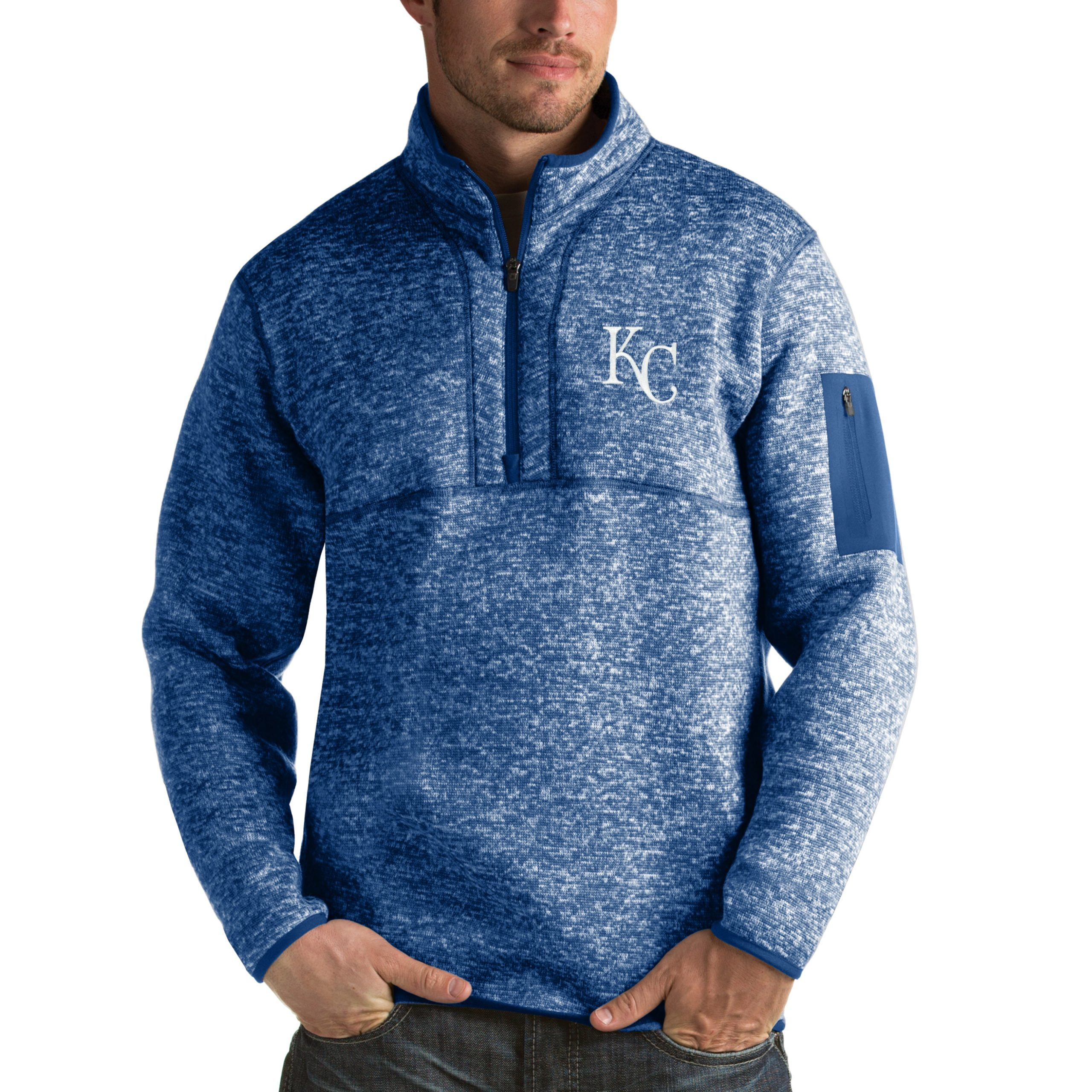 Kansas City Royals Antigua Fortune Half-Zip Sweater - Heathered Royal