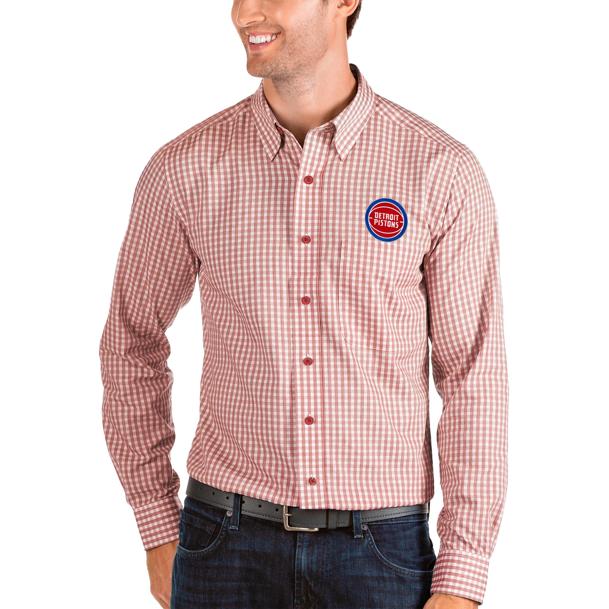 Detroit Pistons Antigua Structure Long Sleeve Button-Up Shirt - Red/White
