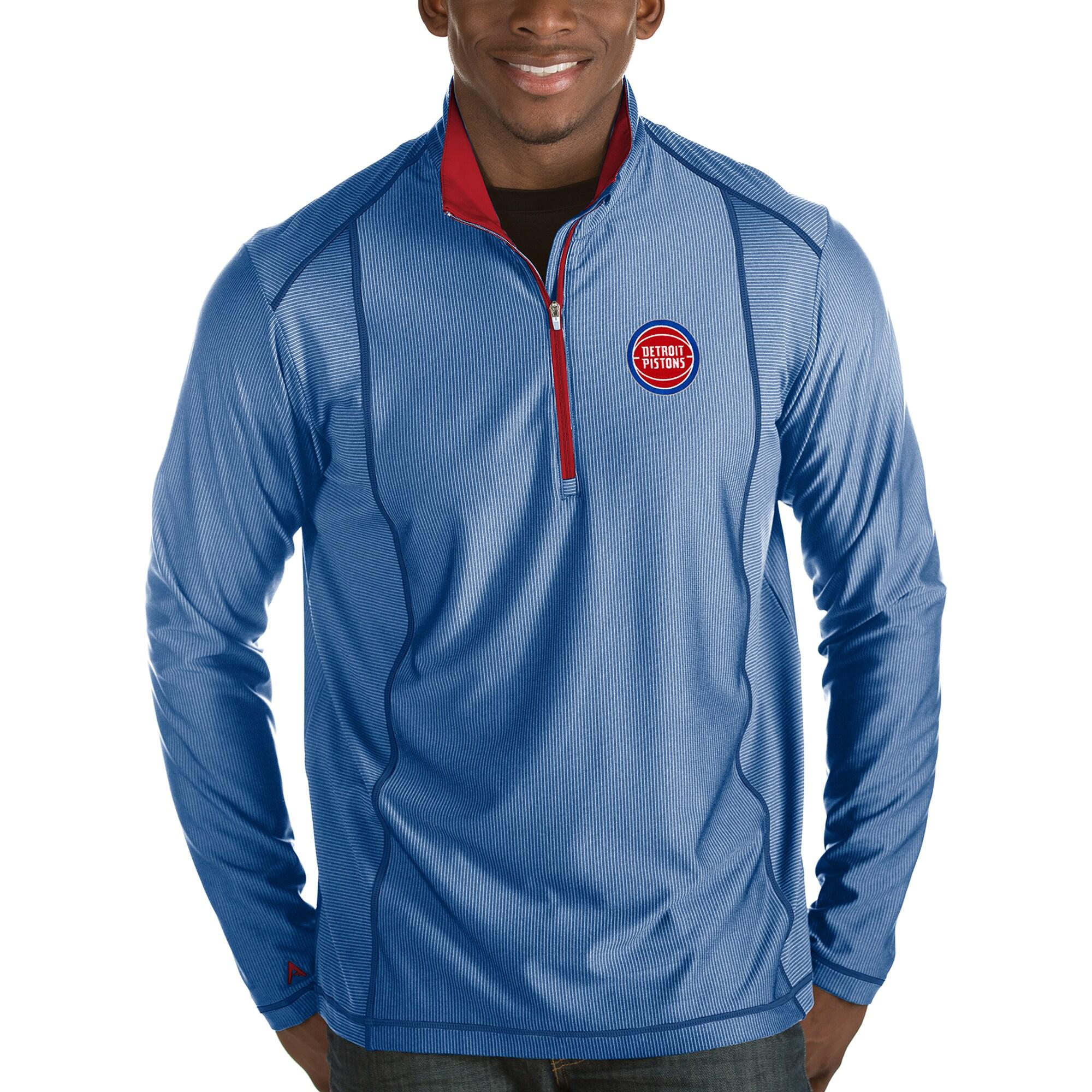 Detroit Pistons Antigua Tempo Half-Zip Pullover Jacket - Royal