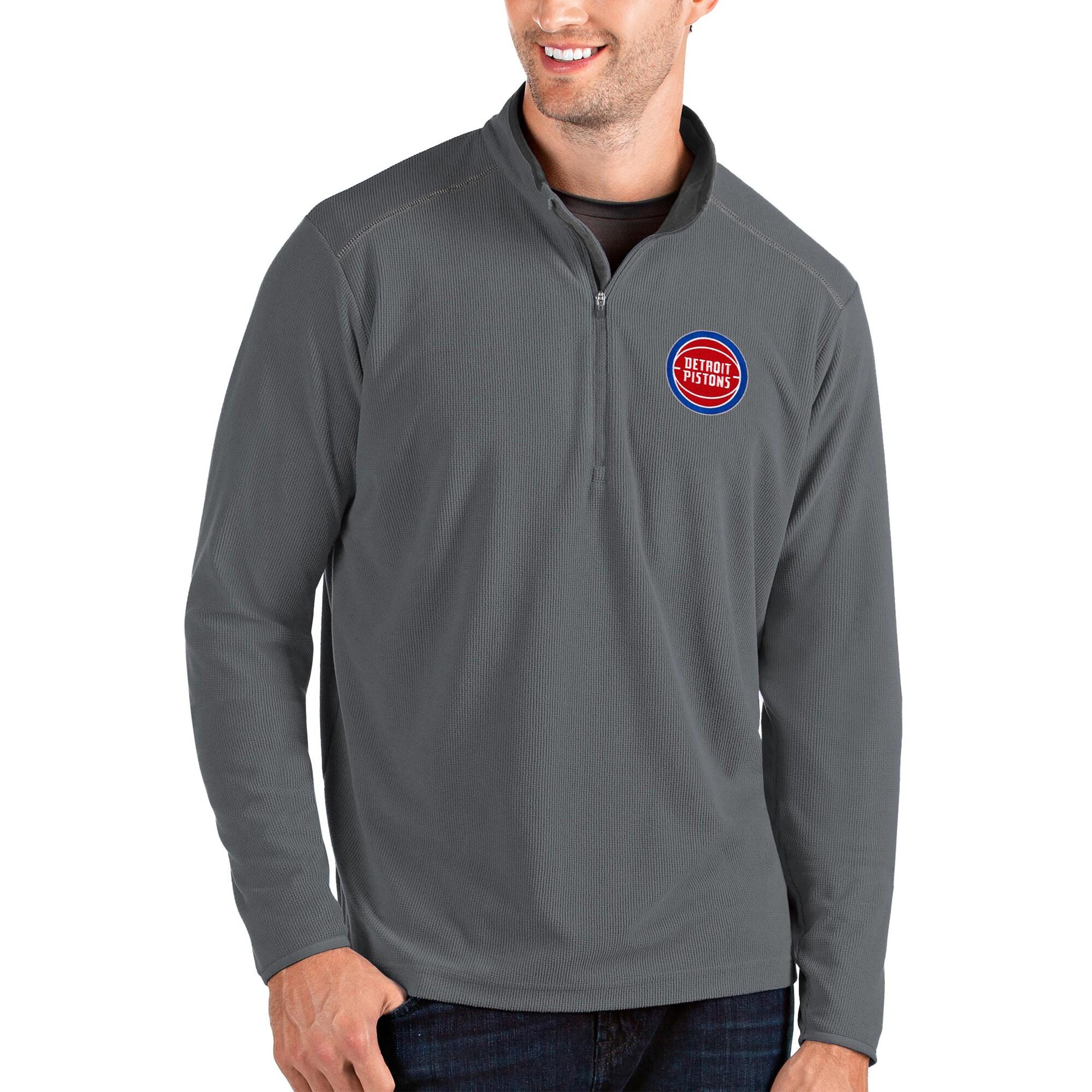 Detroit Pistons Antigua Glacier Quarter-Zip Pullover Jacket - Charcoal/Gray