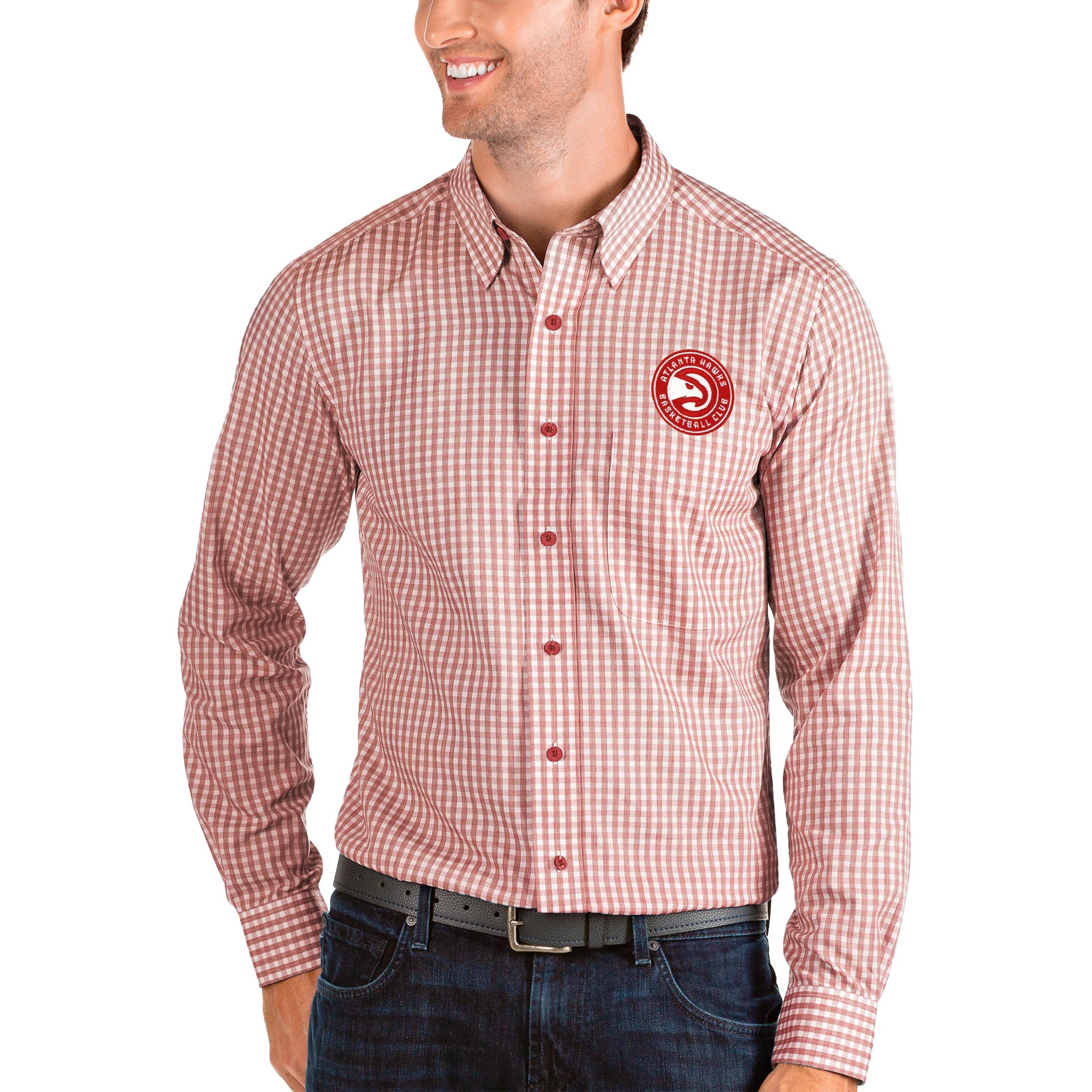 Atlanta Hawks Antigua Structure Long Sleeve Button-Up Shirt - Red/White