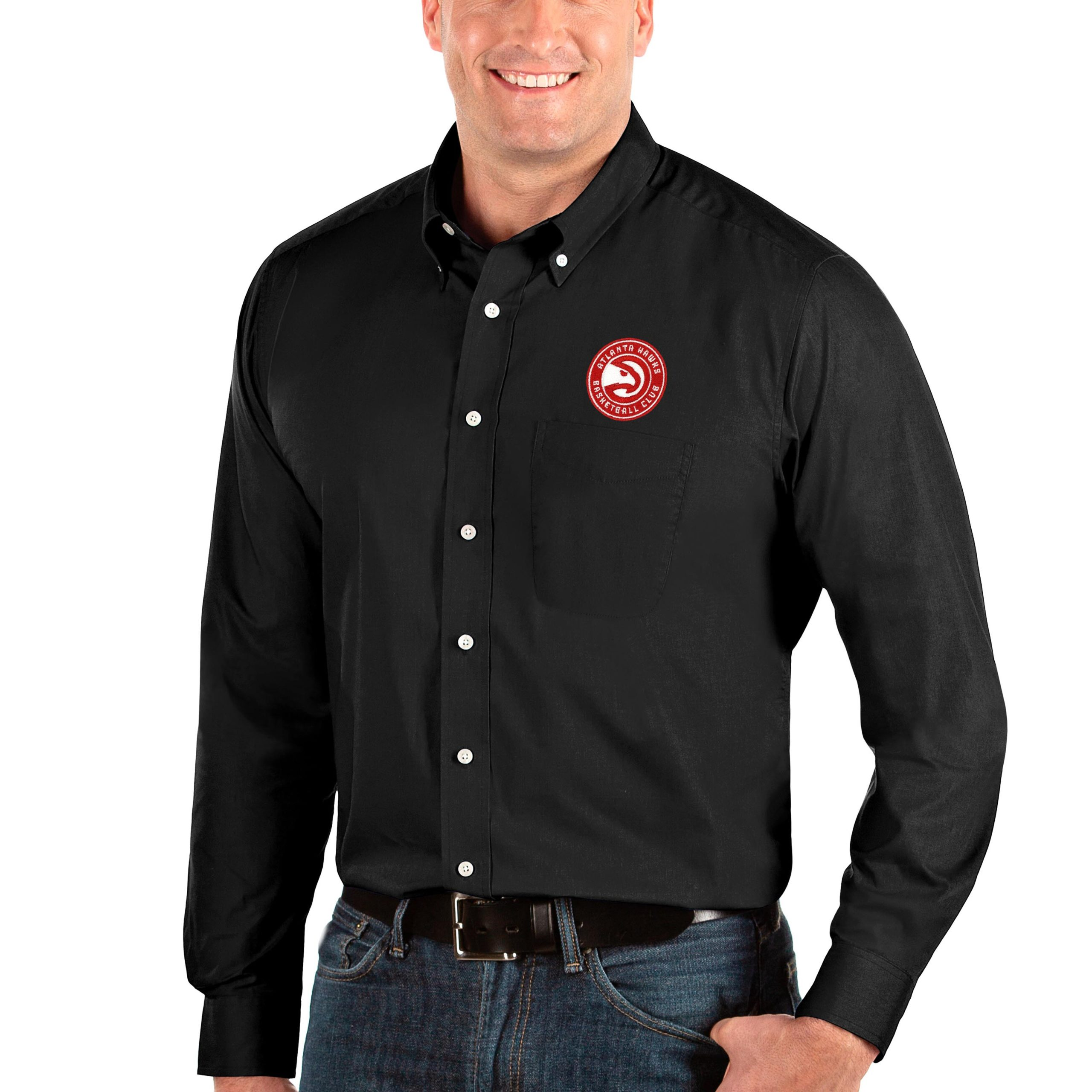Atlanta Hawks Antigua Big & Tall Dynasty Long Sleeve Button-Down Shirt - Black