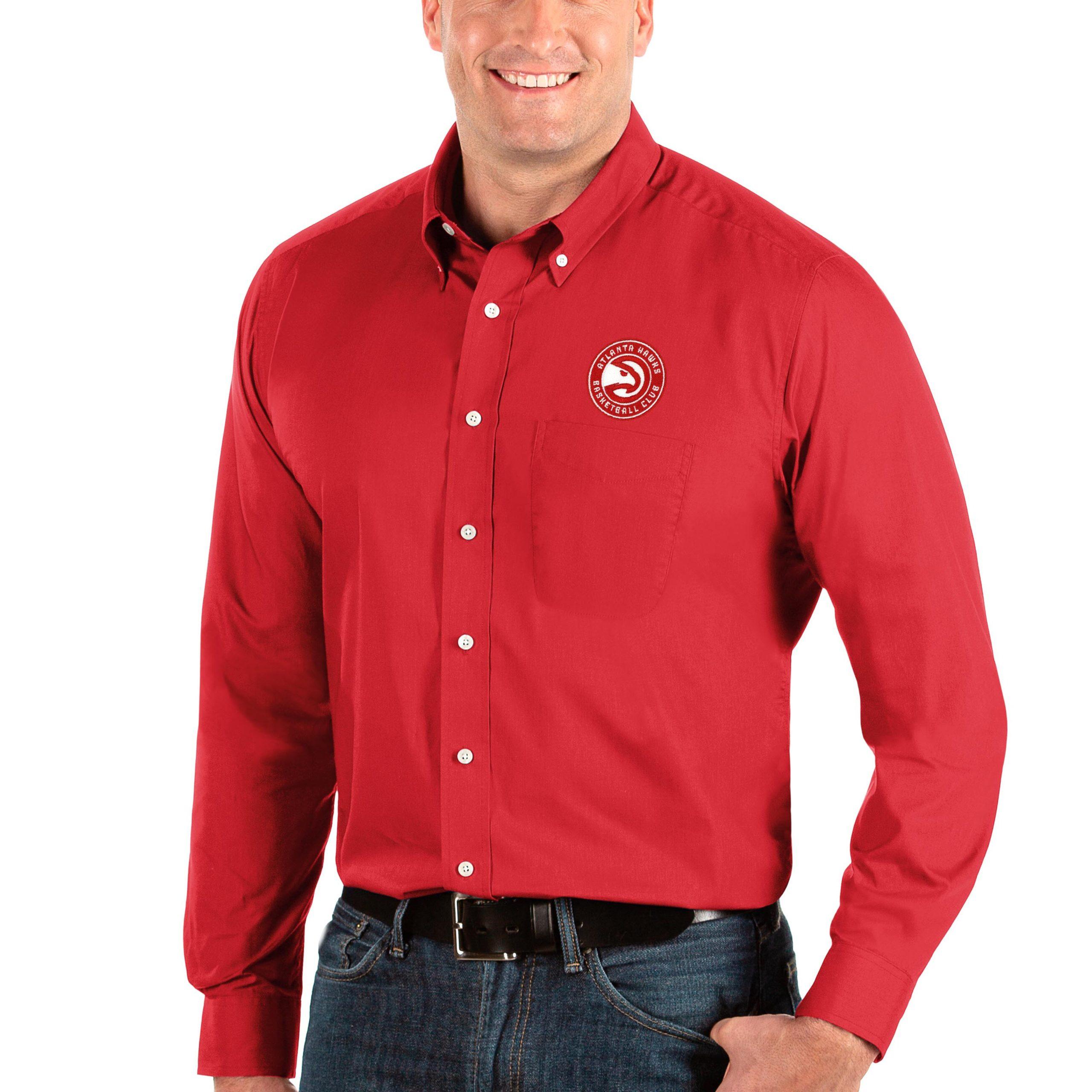 Atlanta Hawks Antigua Big & Tall Dynasty Long Sleeve Button-Down Shirt - Red
