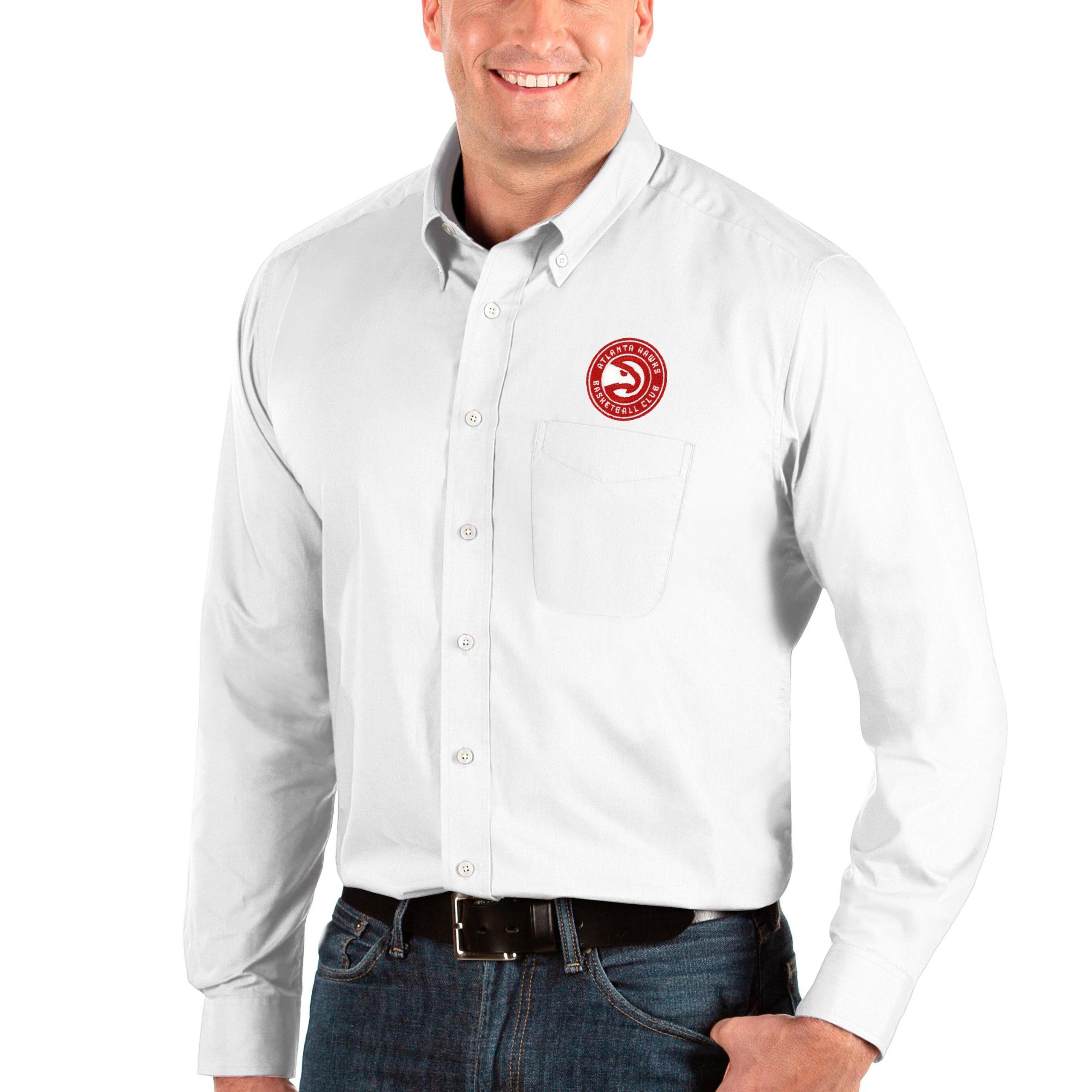 Atlanta Hawks Antigua Big & Tall Dynasty Long Sleeve Button-Down Shirt - White