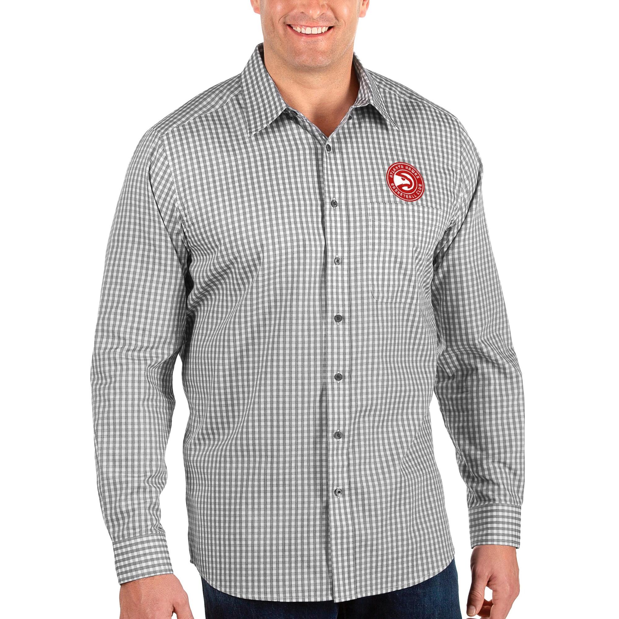 Atlanta Hawks Antigua Big & Tall Structure Long Sleeve Button-Up Shirt - Black/White
