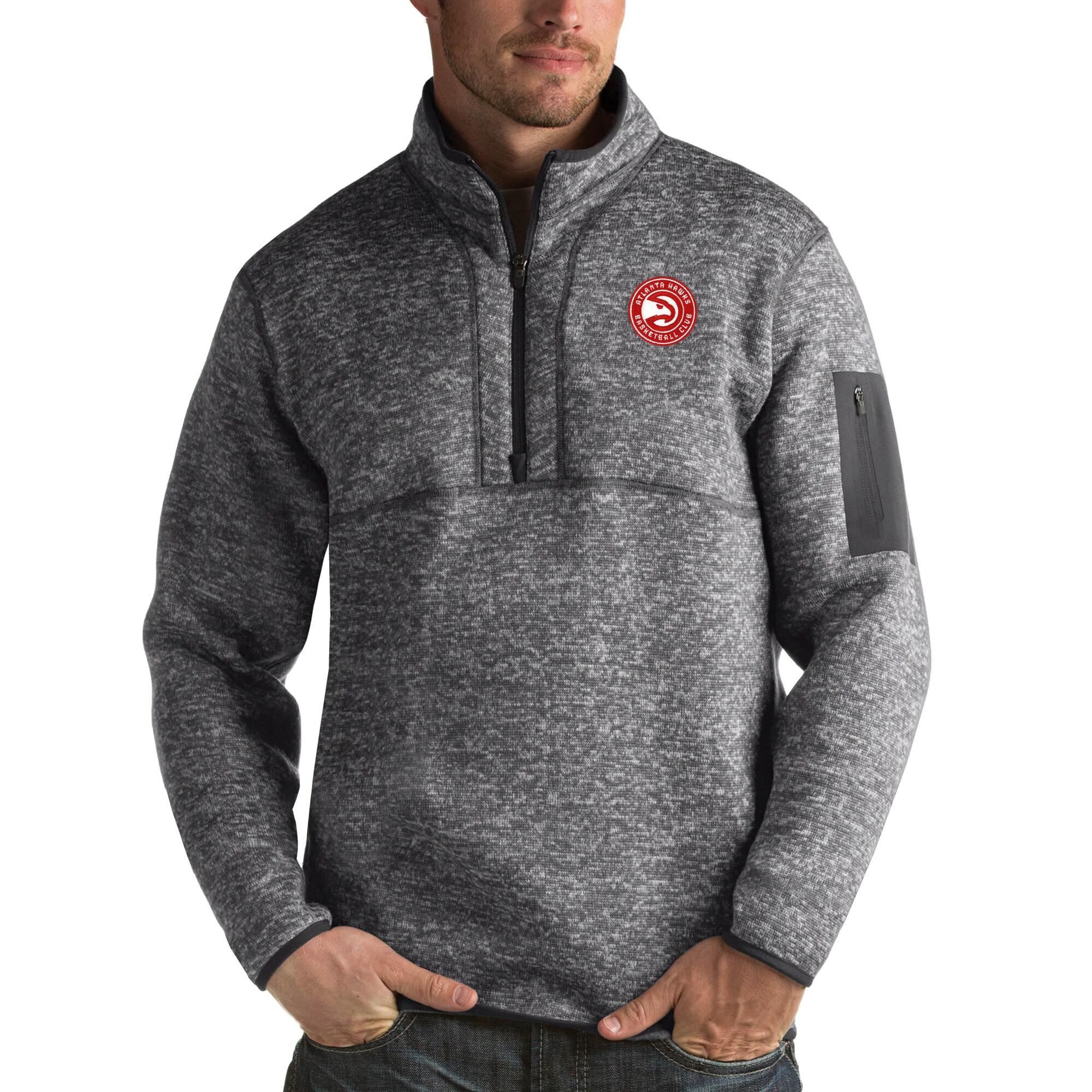 Atlanta Hawks Antigua Fortune Big & Tall Quarter-Zip Pullover Jacket - Charcoal