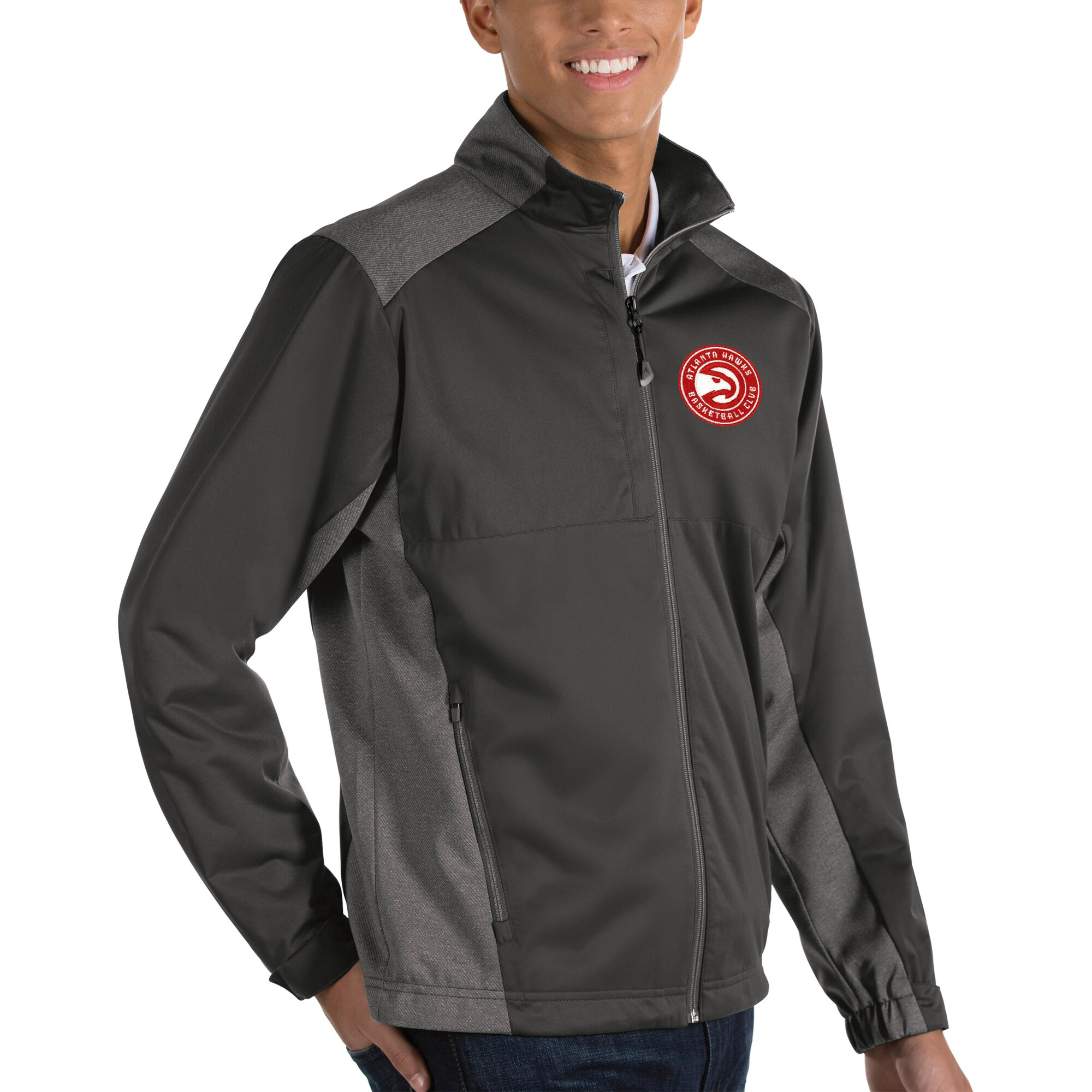 Atlanta Hawks Antigua Revolve Big & Tall Full-Zip Jacket - Charcoal