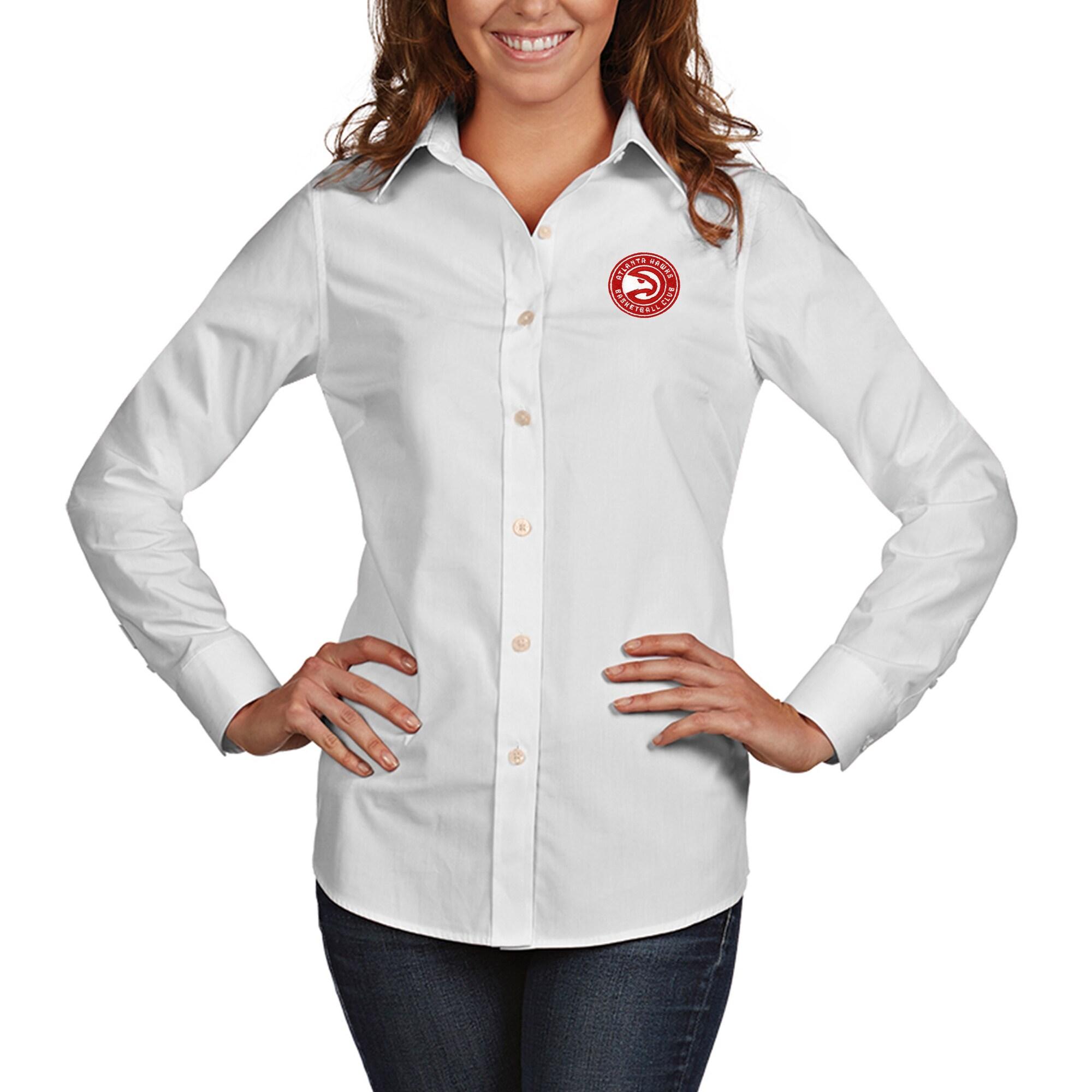 Atlanta Hawks Antigua Women's Dynasty Woven Button-Up Long Sleeve Shirt - White