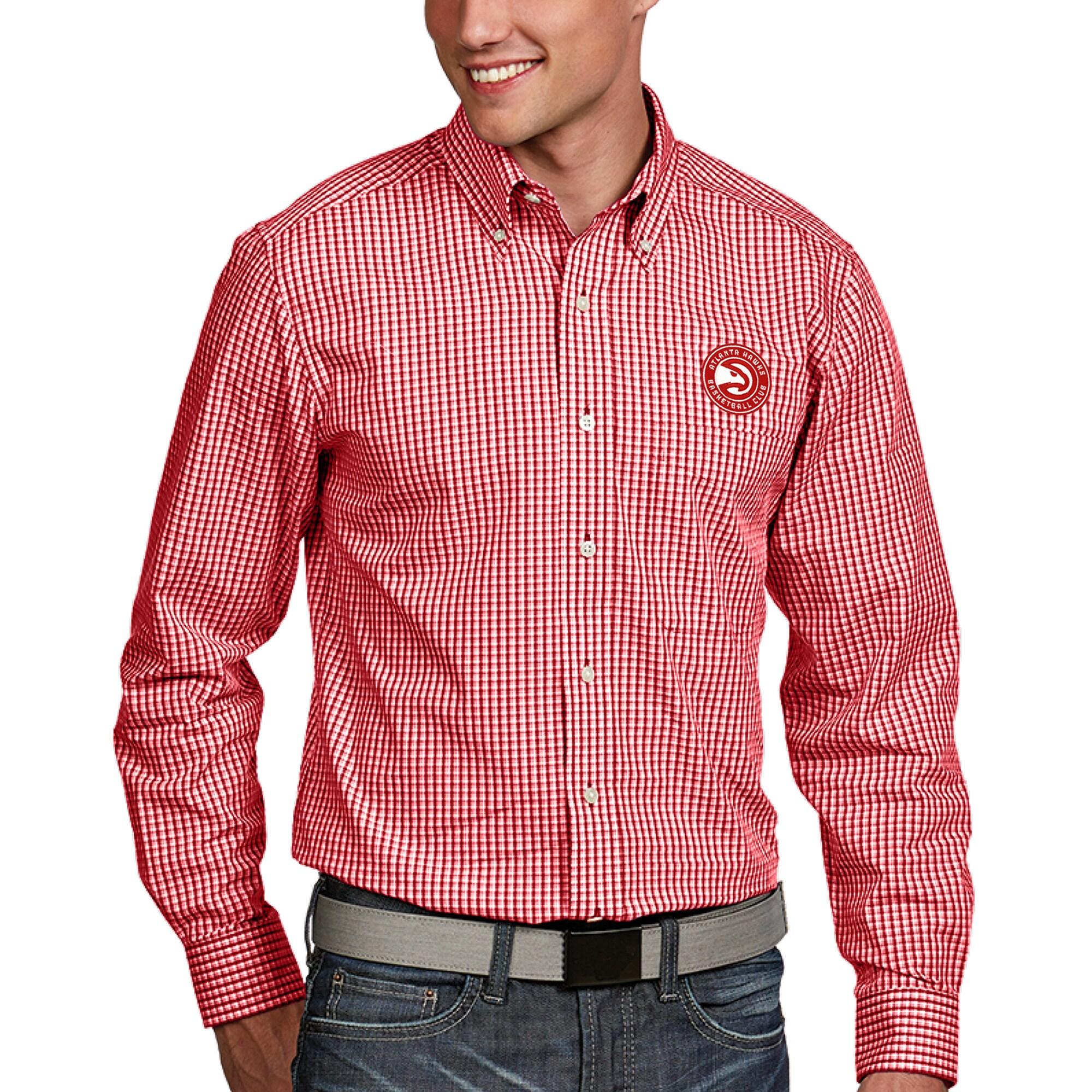 Atlanta Hawks Antigua Associate Button-Down Long Sleeve Shirt - Red