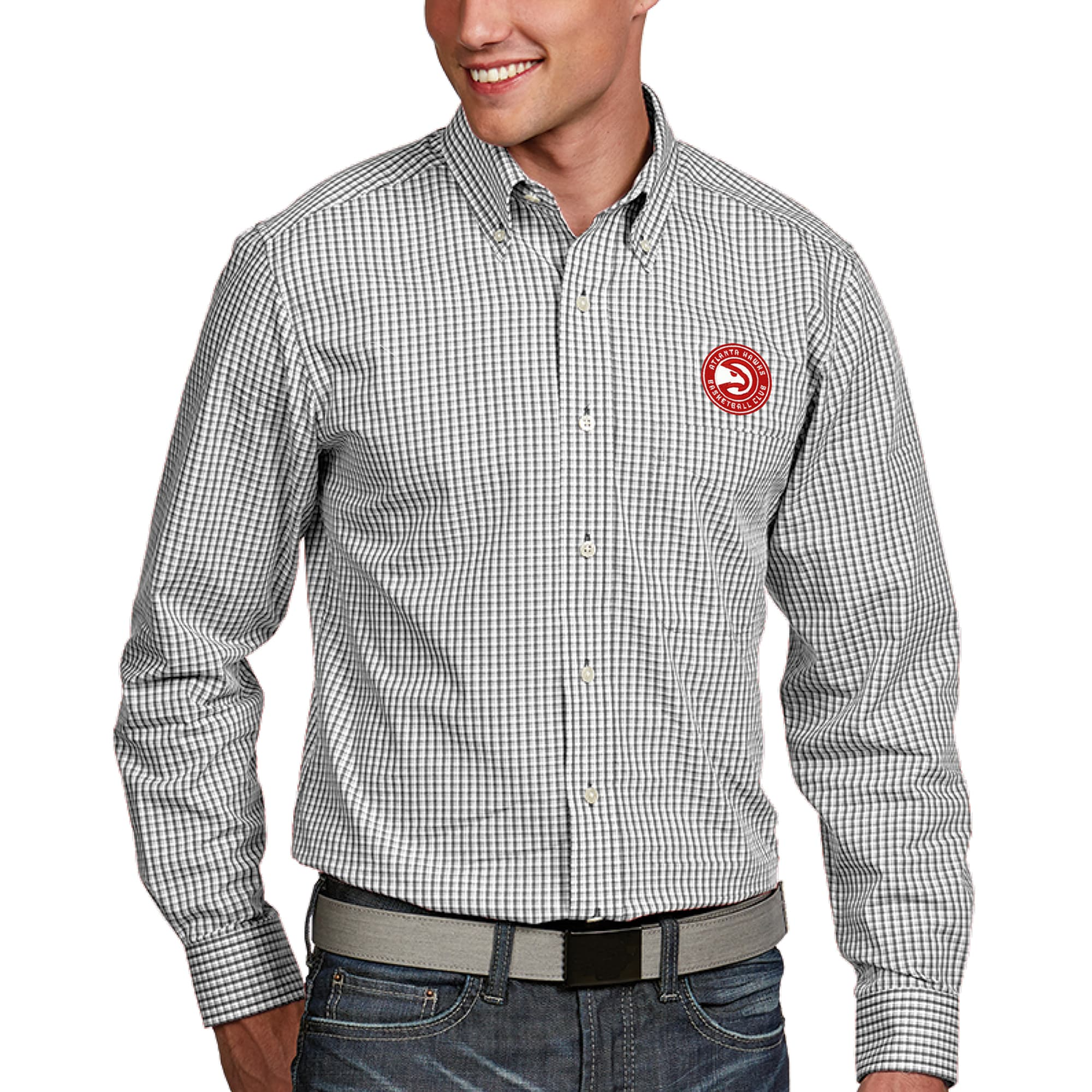 Atlanta Hawks Antigua Associate Button-Down Long Sleeve Shirt - White