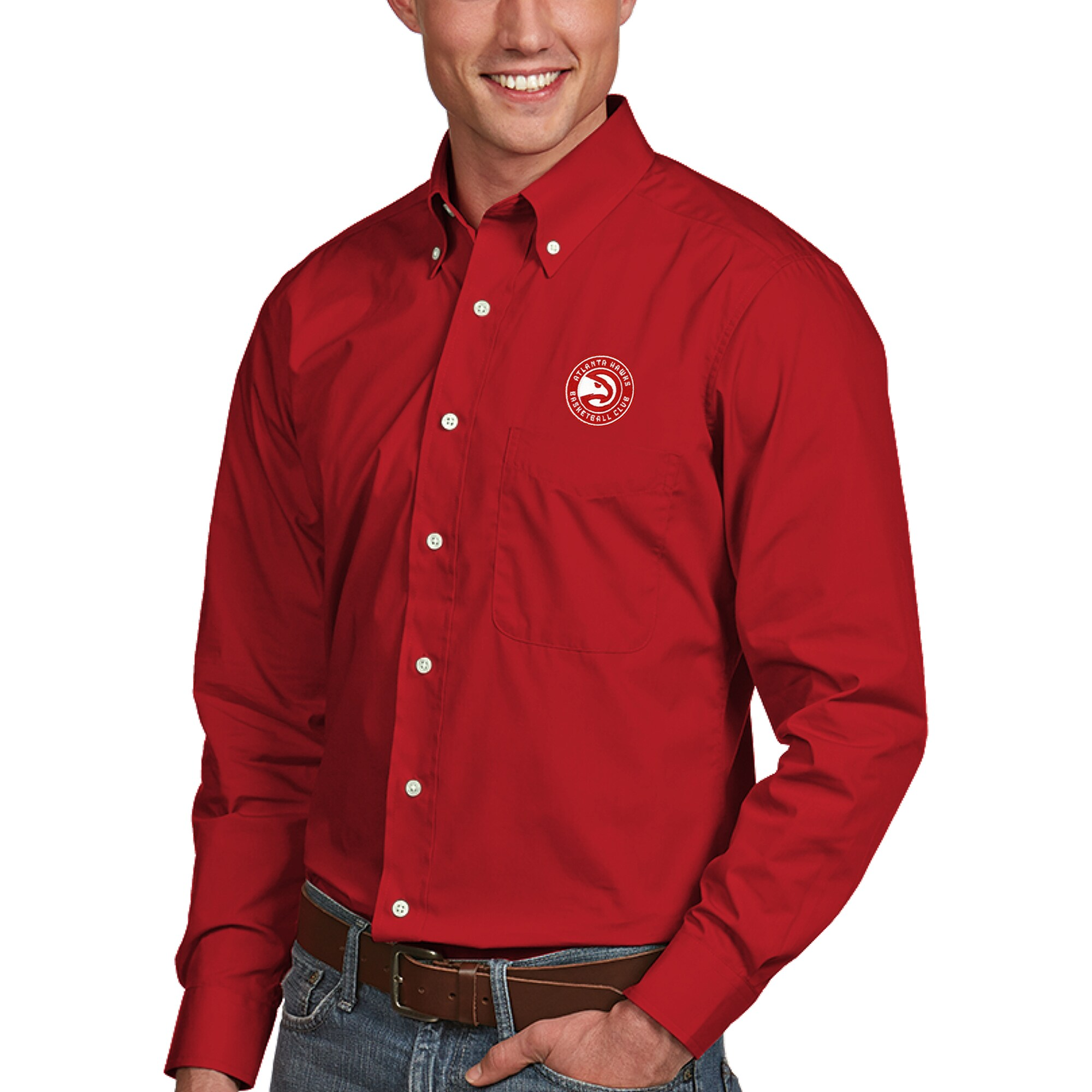 Atlanta Hawks Antigua Dynasty Button-Down Long Sleeve Shirt - Red