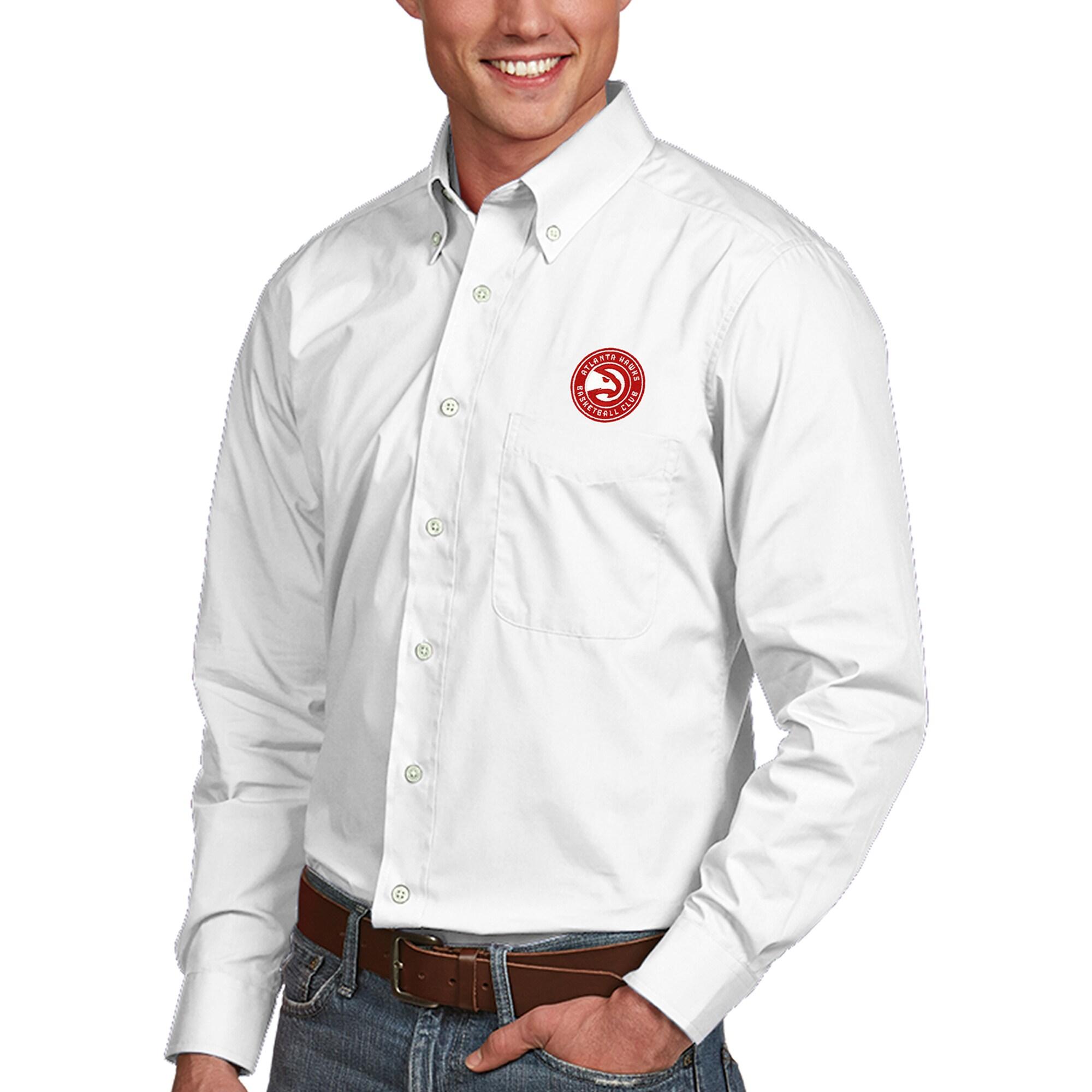 Atlanta Hawks Antigua Dynasty Button-Down Long Sleeve Shirt - White