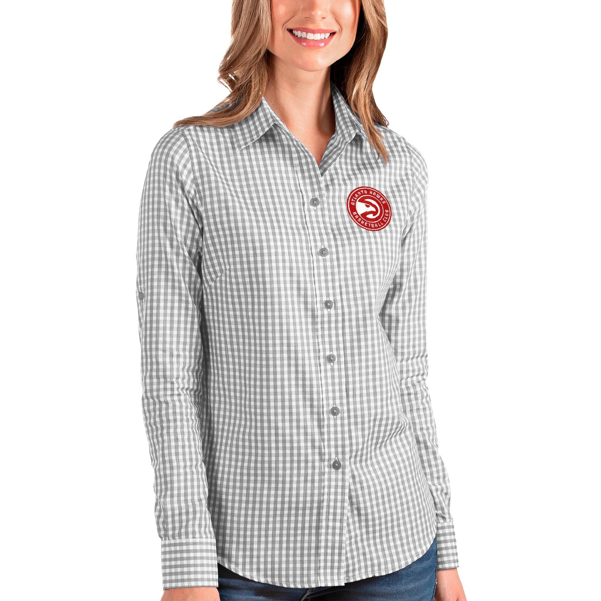 Atlanta Hawks Antigua Women's Structure Button-Up Long Sleeve Shirt - Charcoal/White