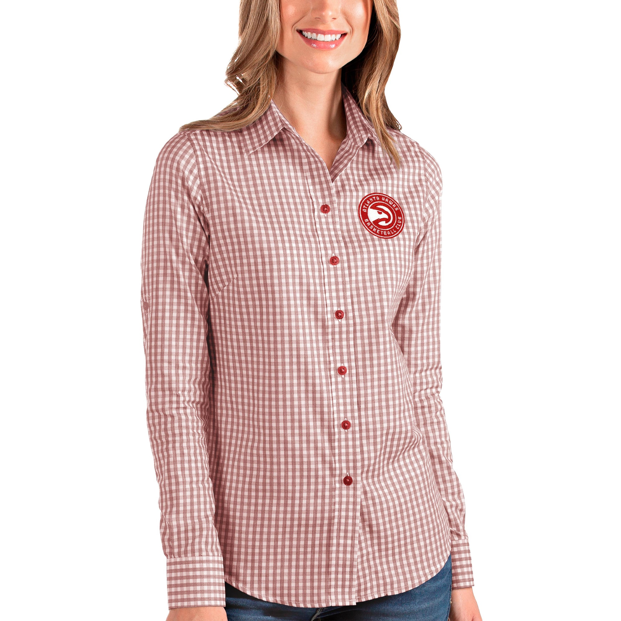 Atlanta Hawks Antigua Women's Structure Button-Up Long Sleeve Shirt - Red/White