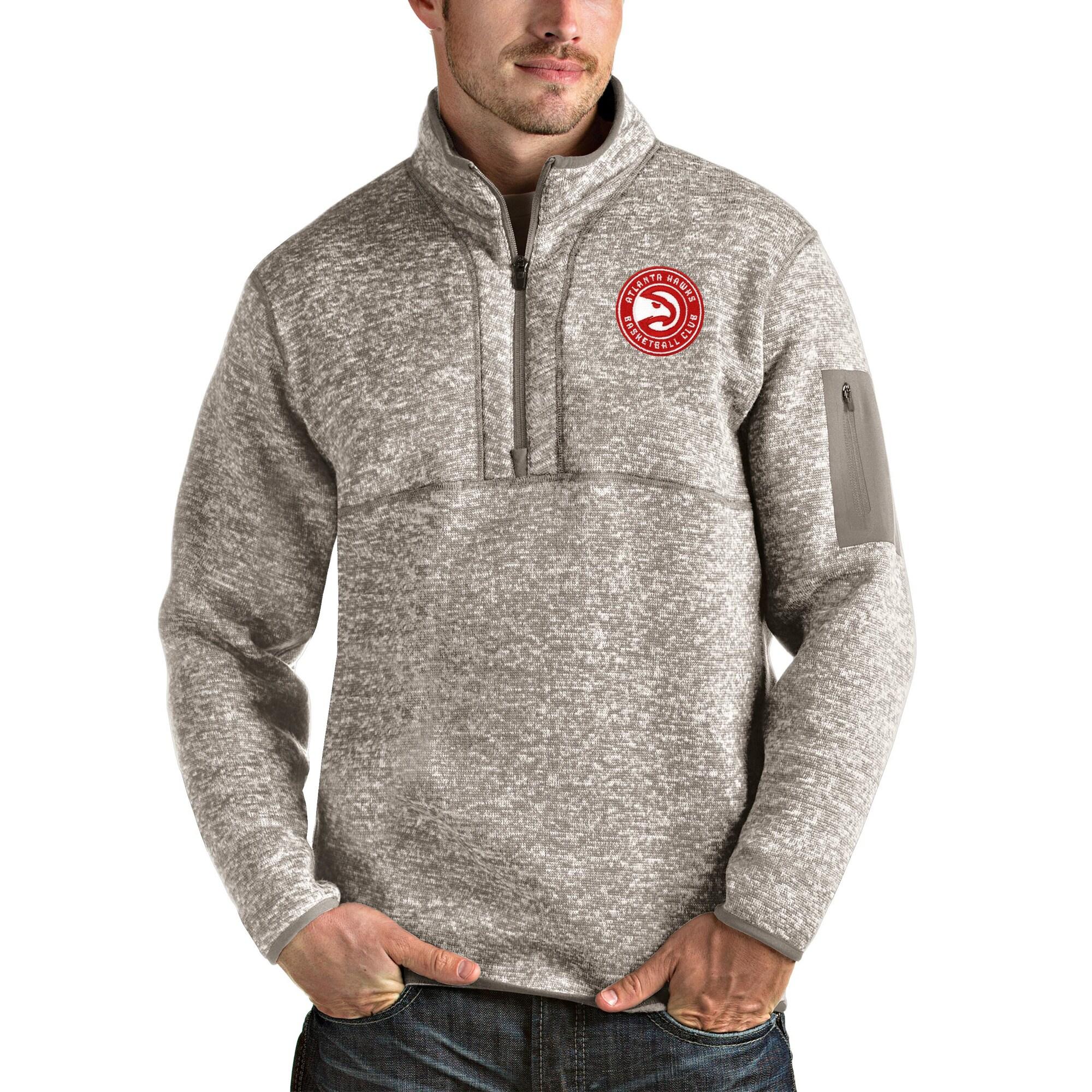 Atlanta Hawks Antigua Fortune Quarter-Zip Pullover Jacket - Natural