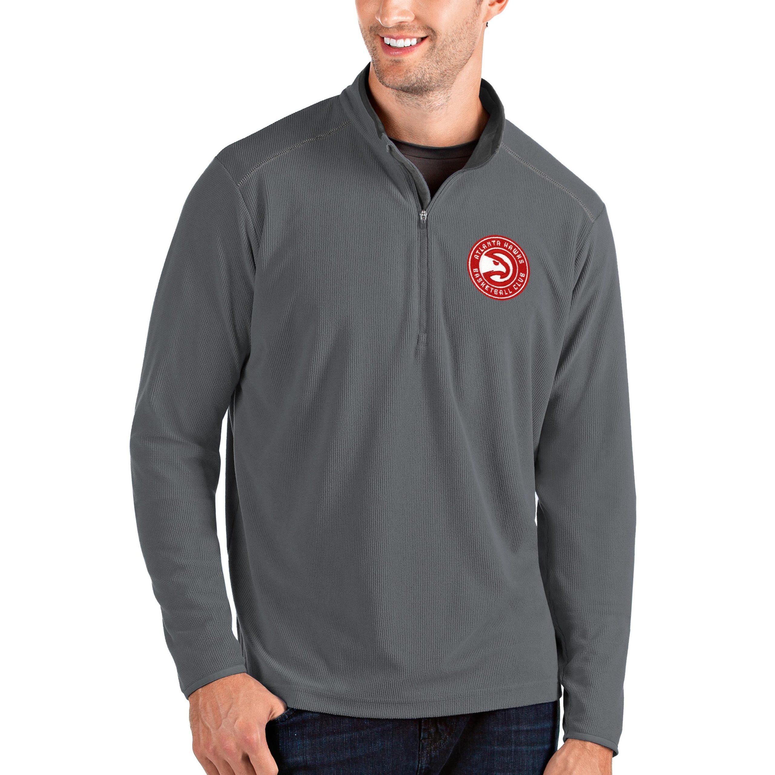 Atlanta Hawks Antigua Big & Tall Glacier Quarter-Zip Pullover Jacket - Gray/Gray