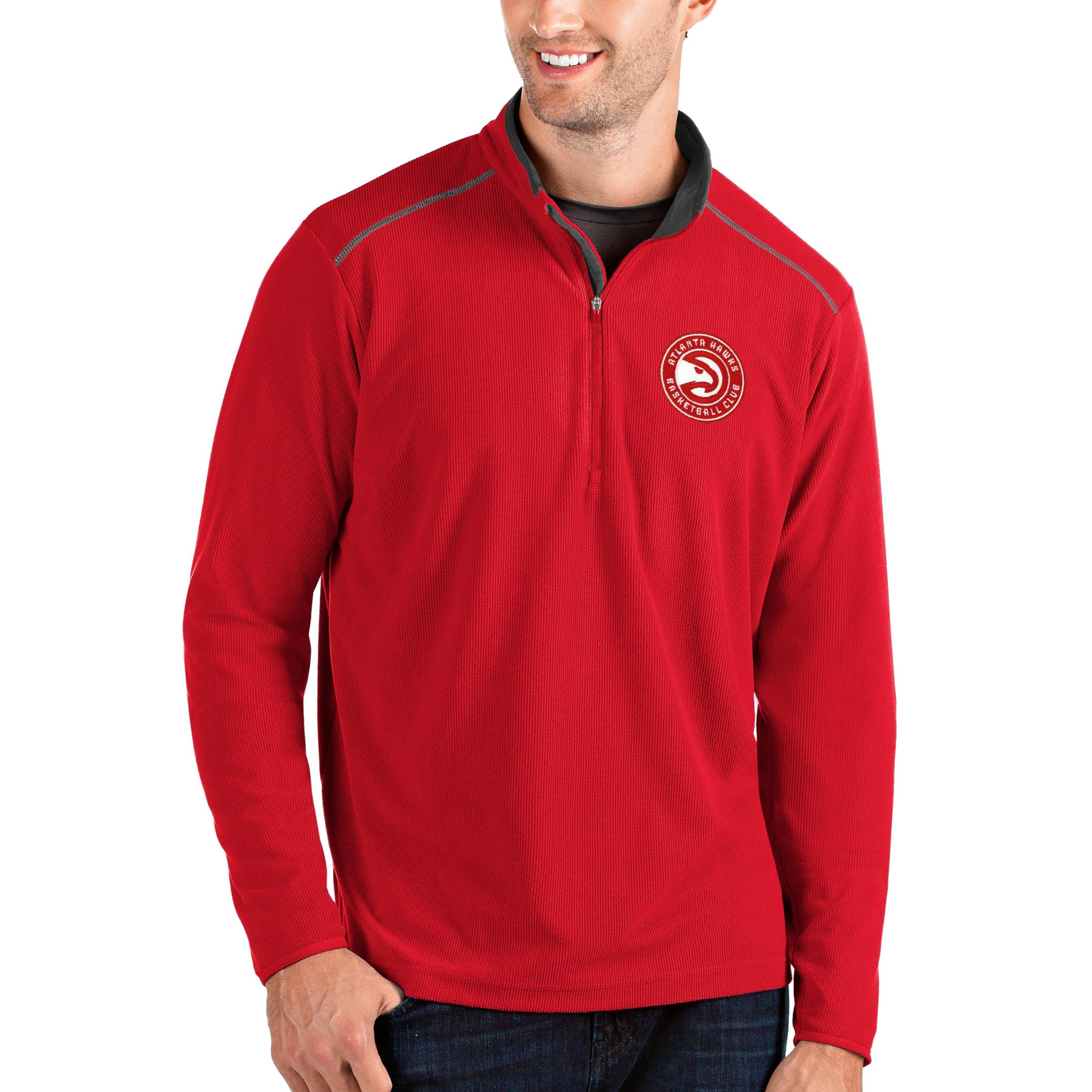 Atlanta Hawks Antigua Big & Tall Glacier Quarter-Zip Pullover Jacket - Red/Gray