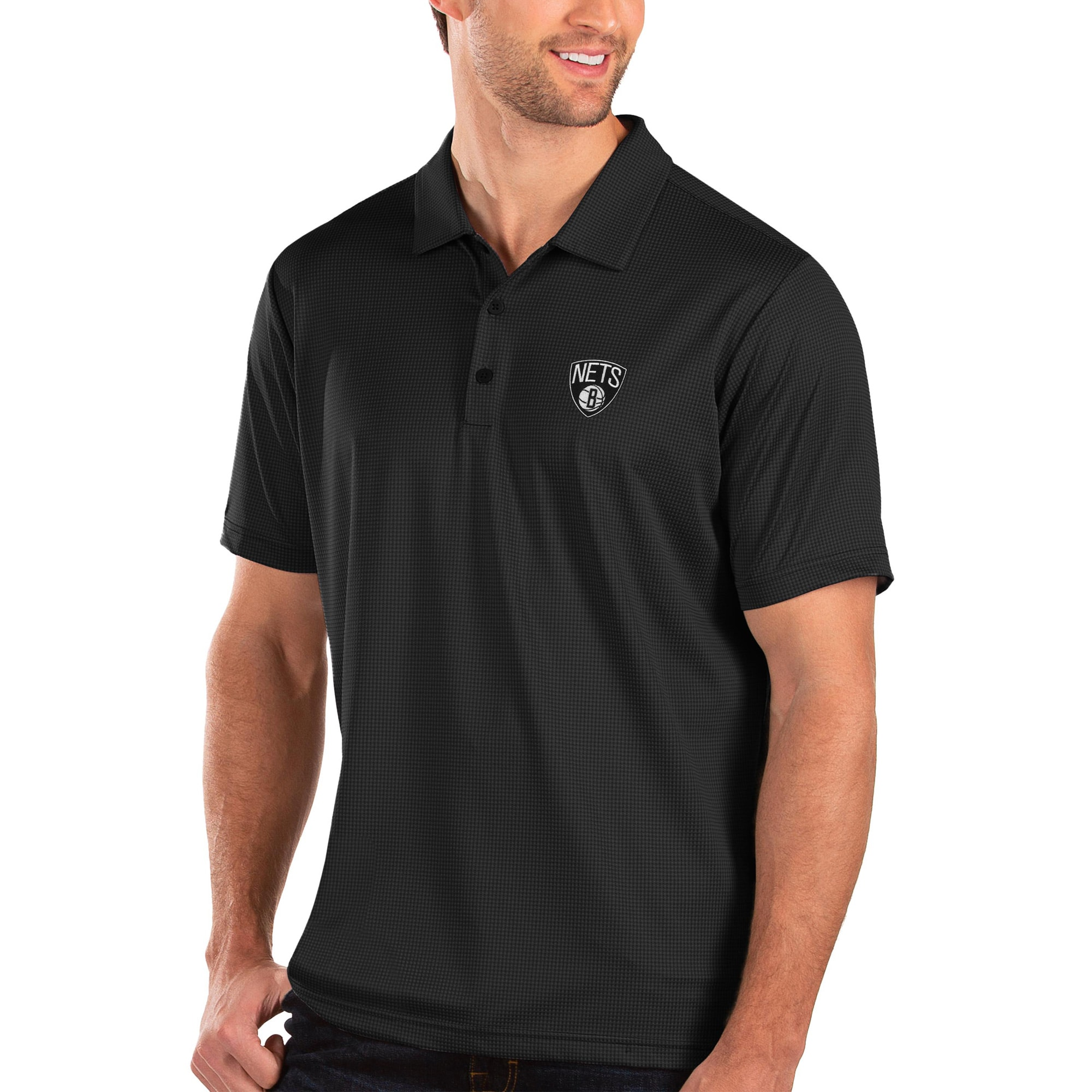 Brooklyn Nets Antigua Balance Polo - Black