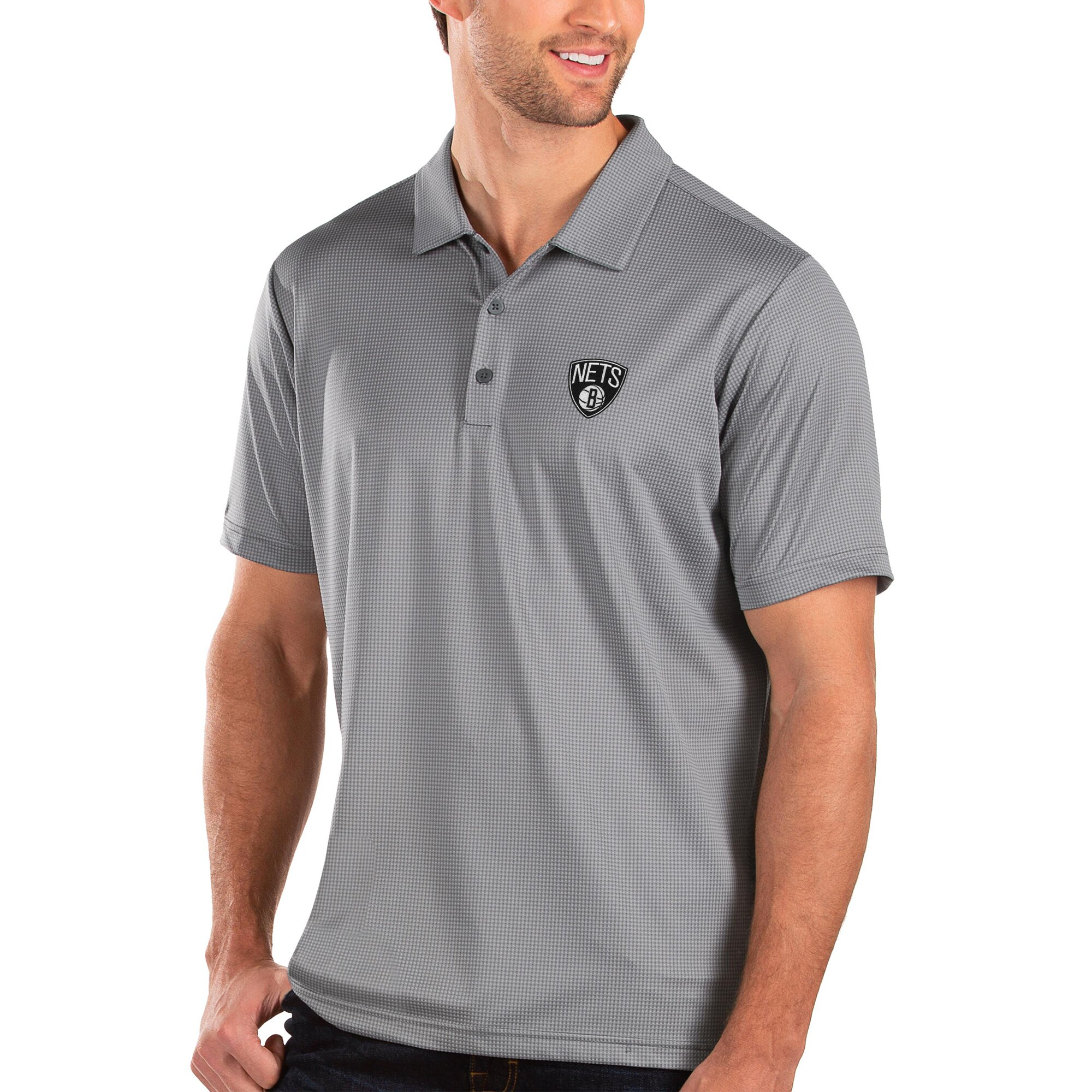 Brooklyn Nets Antigua Balance Polo - Charcoal