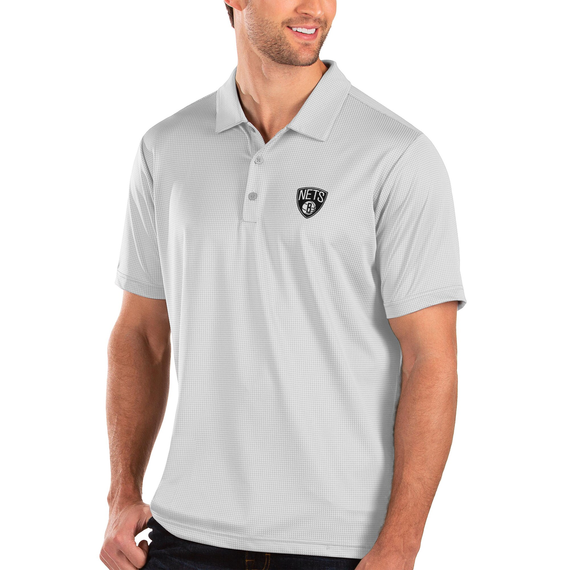 Brooklyn Nets Antigua Balance Polo - White